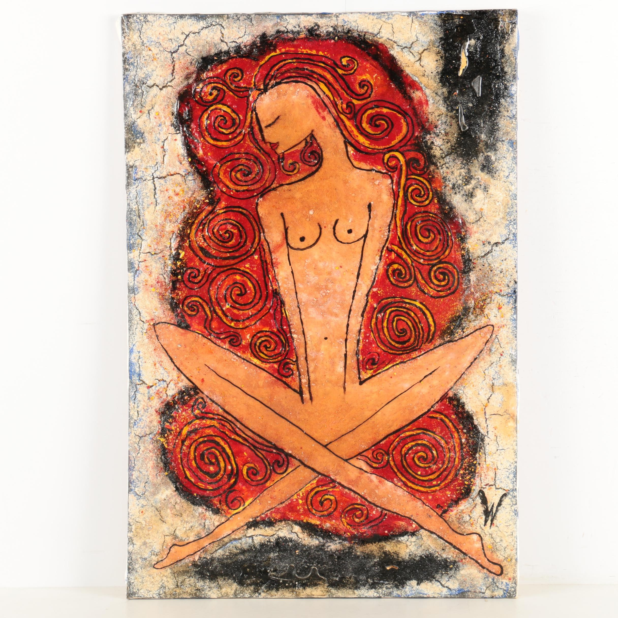 W. Mixed Media Painting of a Seated Nude
