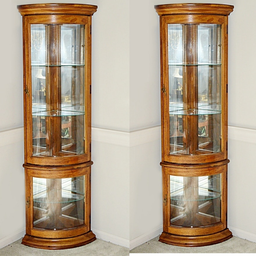 Pair of Lighted Curved Glass Corner Display Cabinets | EBTH