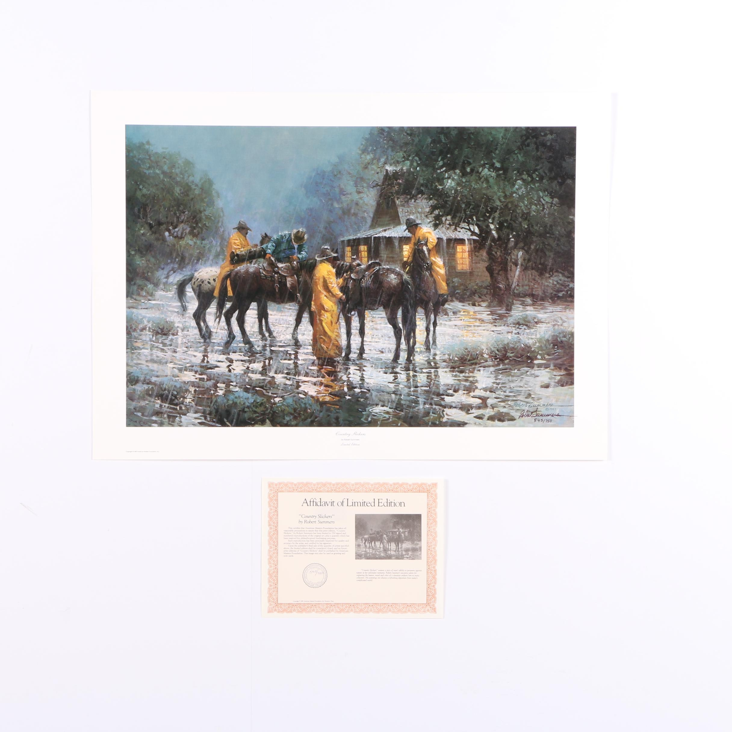 "Robert Summers 1987 Limited Edition Offset Lithograph ""Country Slickers"""