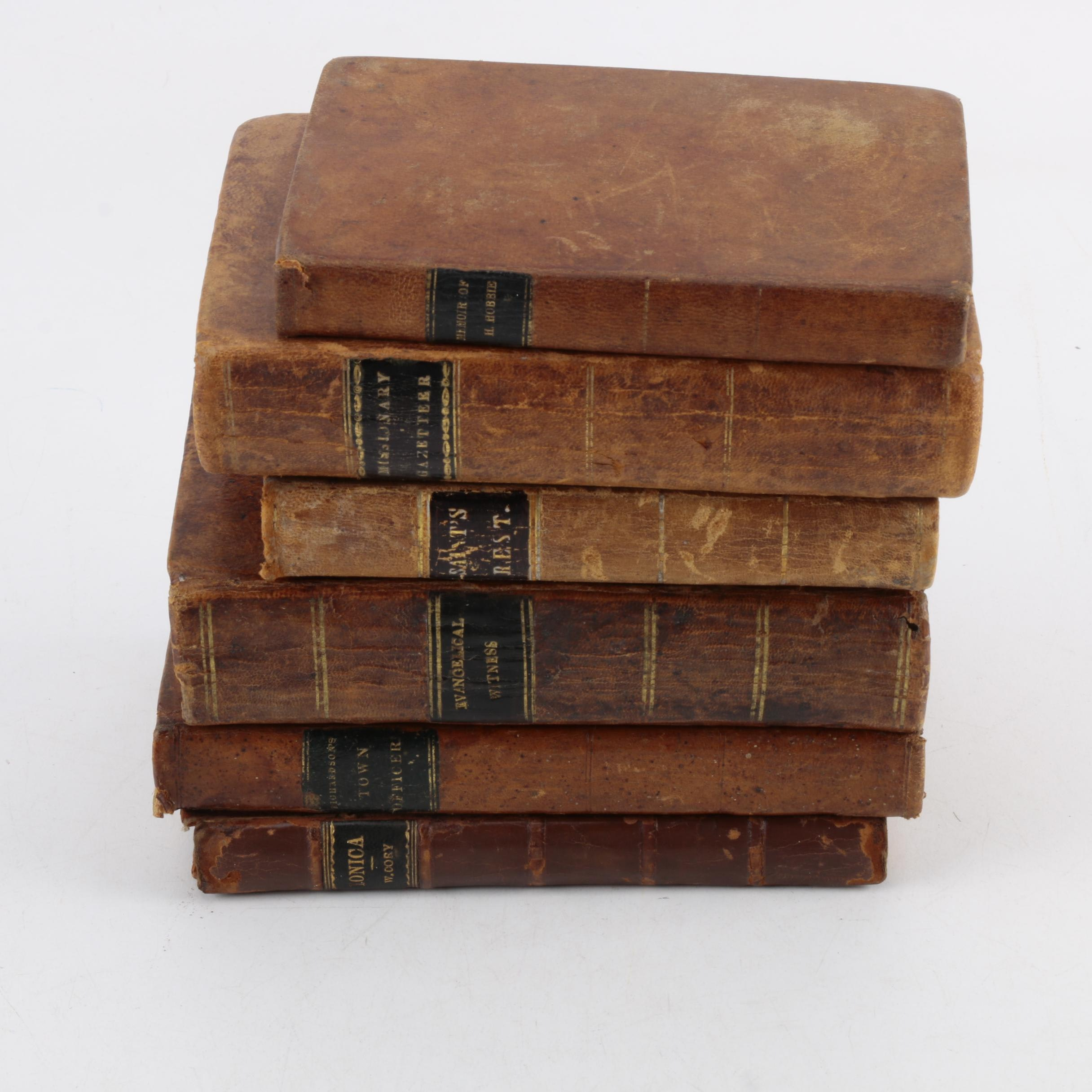 Six Antique Leather Bound Books