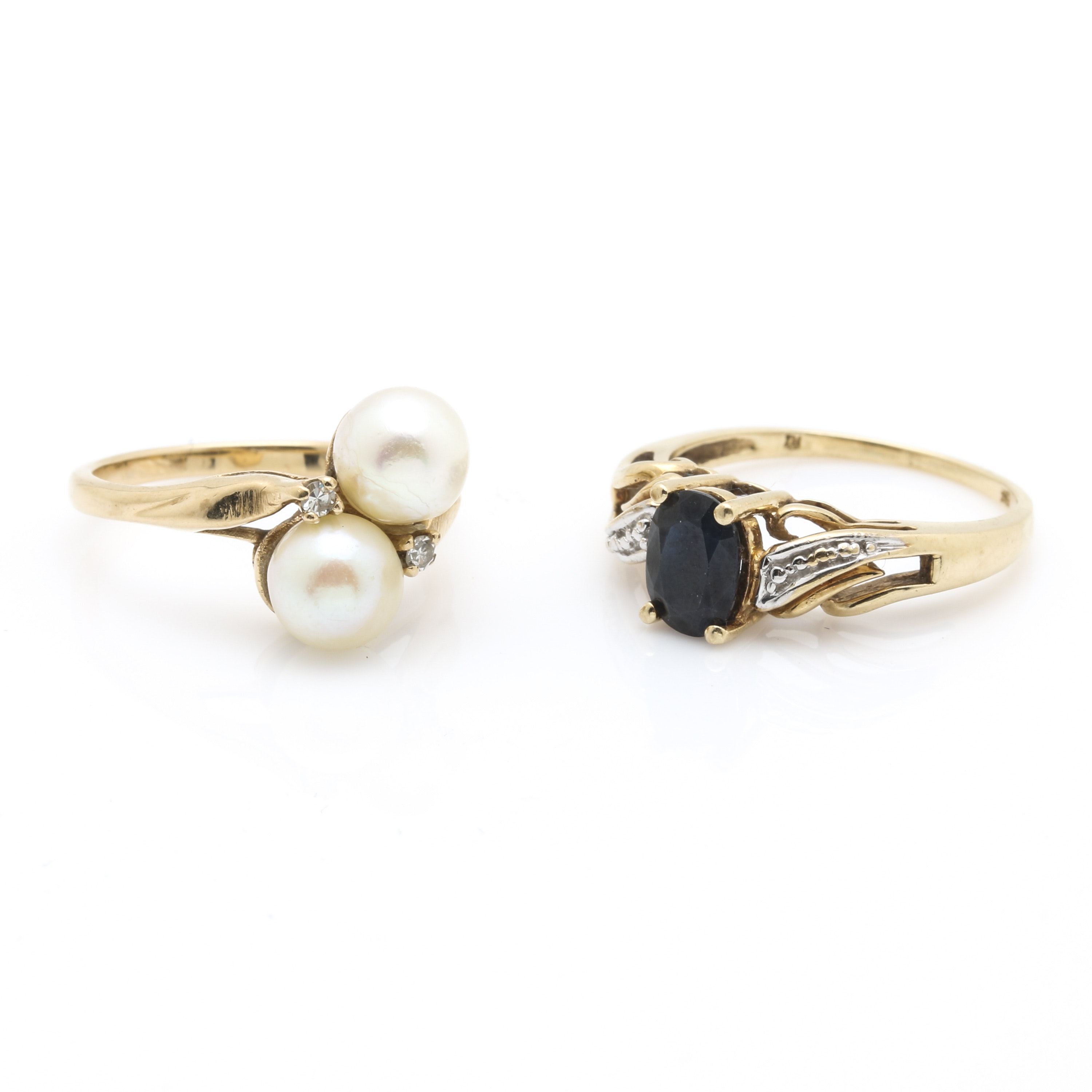 10K and 14K Yellow Gold Diamond and Gemstone Rings