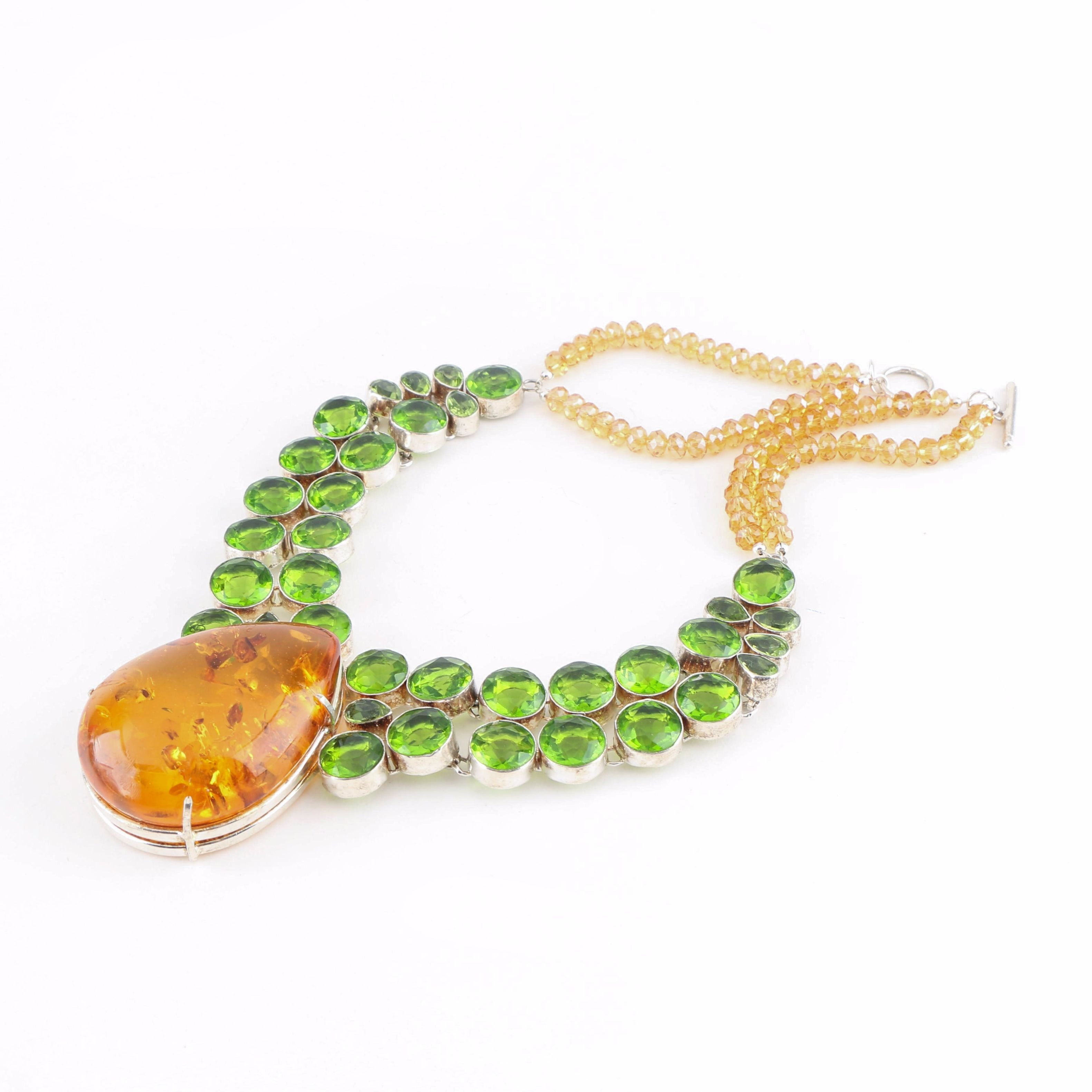 Sterling Silver Amber, Green and Yellow Glass Collar Necklace