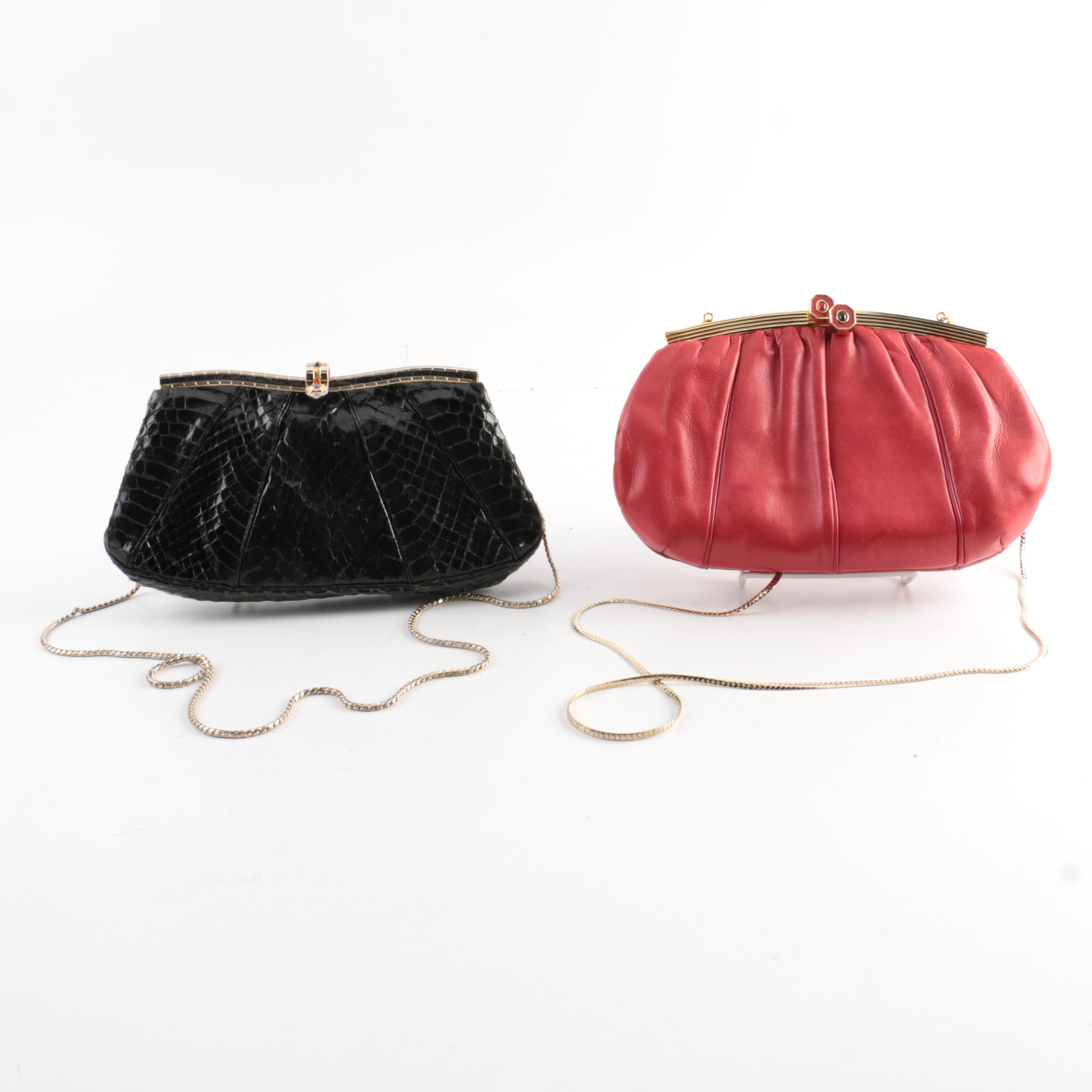 Judith Leiber Leather Clutches Including Snakeskin