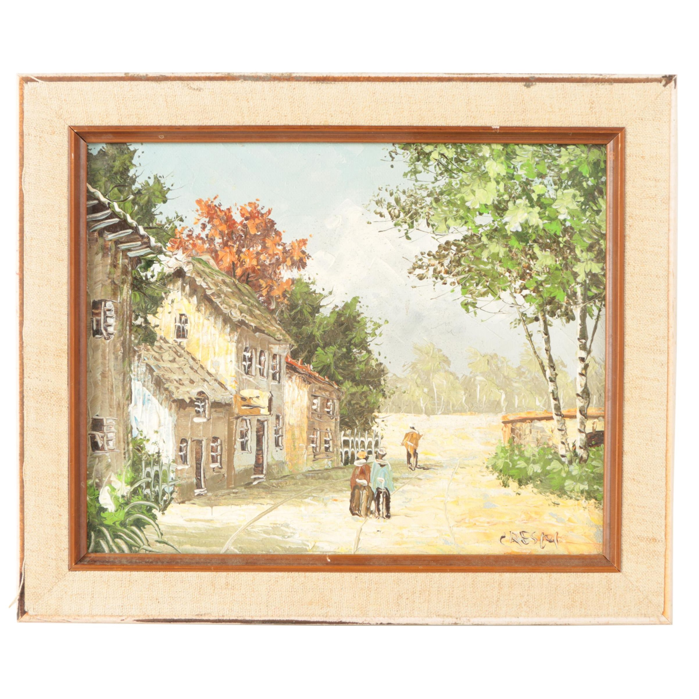 Crespi Oil Painting on Canvas of Rural Village Landscape