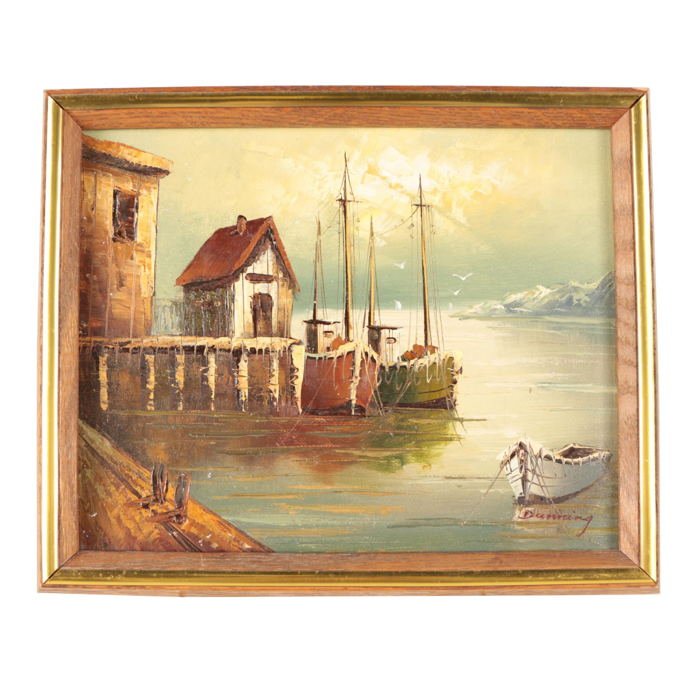 Dunning Oil Painting on Canvas of Boats at Small Fishing Harbor