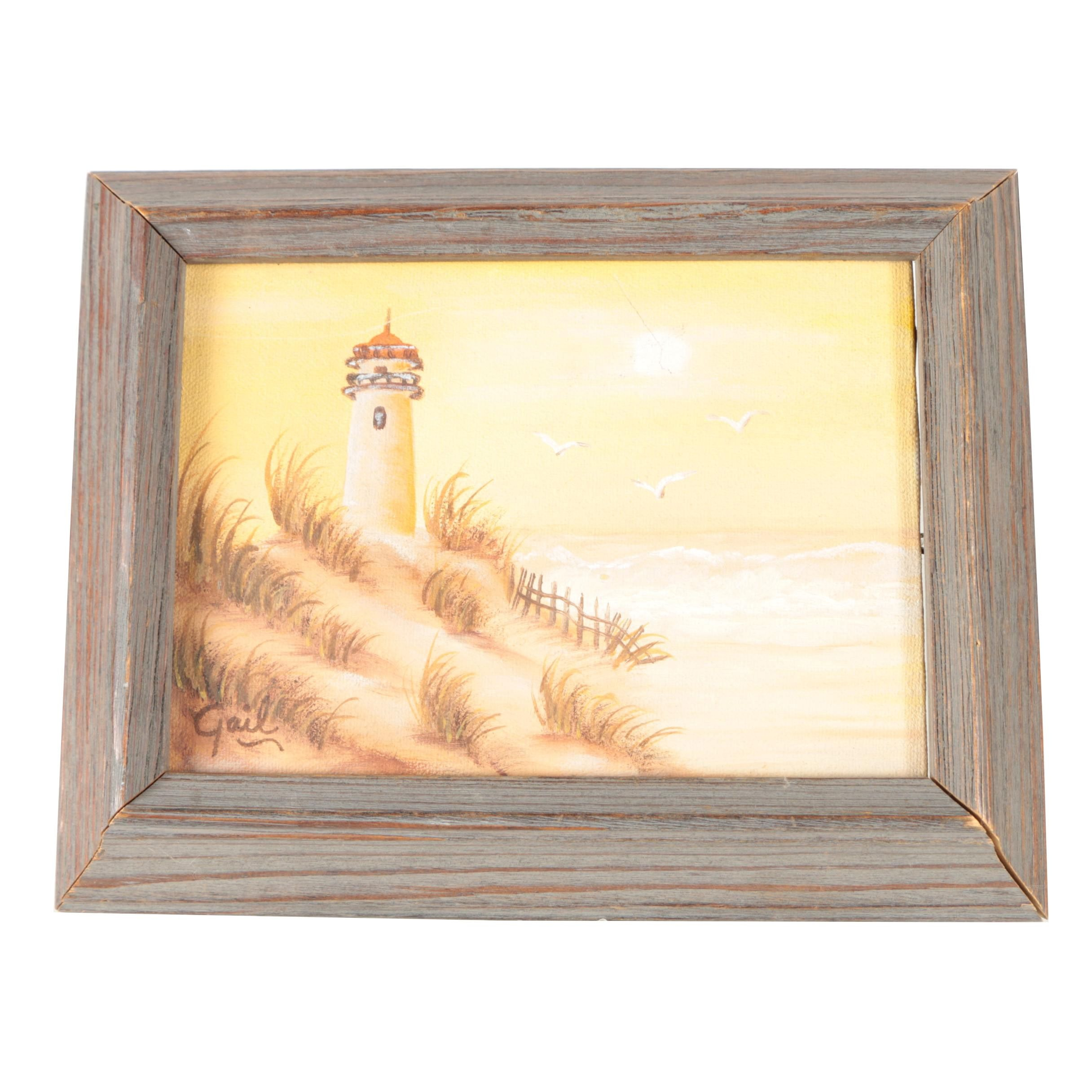 Gail Oil Painting on Canvas of a Lighthouse