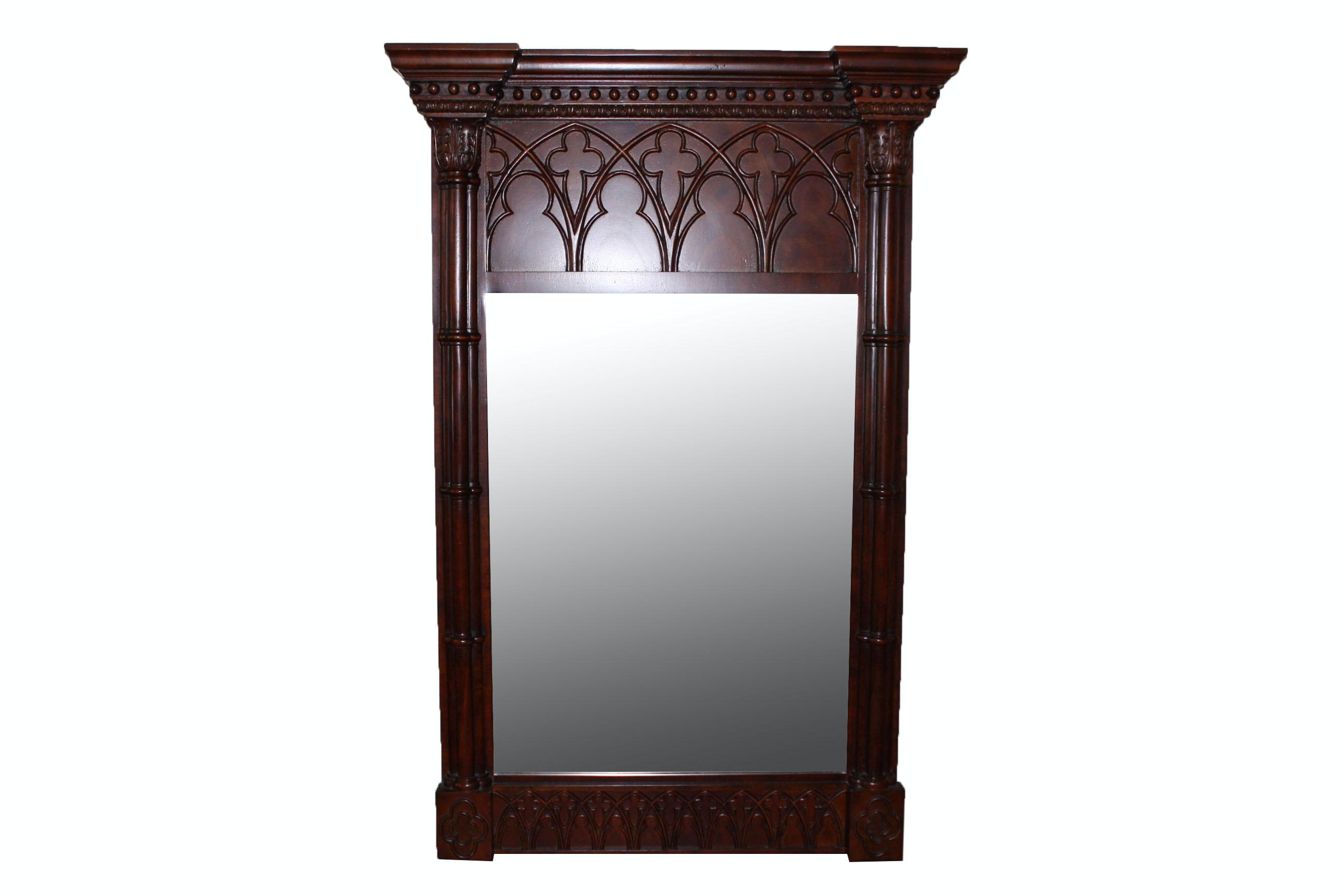 Vintage Neoclassical Mahogany Pier Mirror