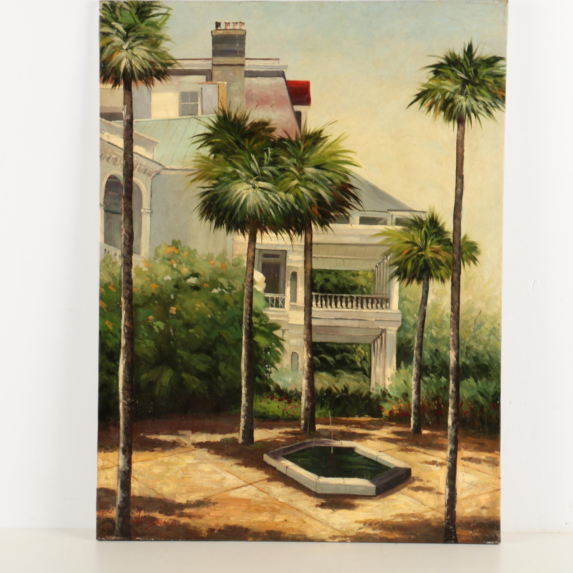 Lisana Oil Painting on Canvas of a Courtyard with Palm Trees