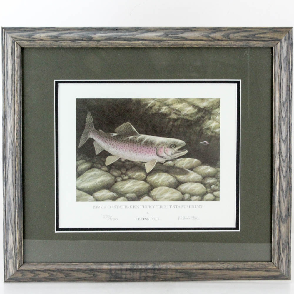 "F. P. Bennett Jr. Limited Edition Offset Lithograph ""Trout Stamp Print"""