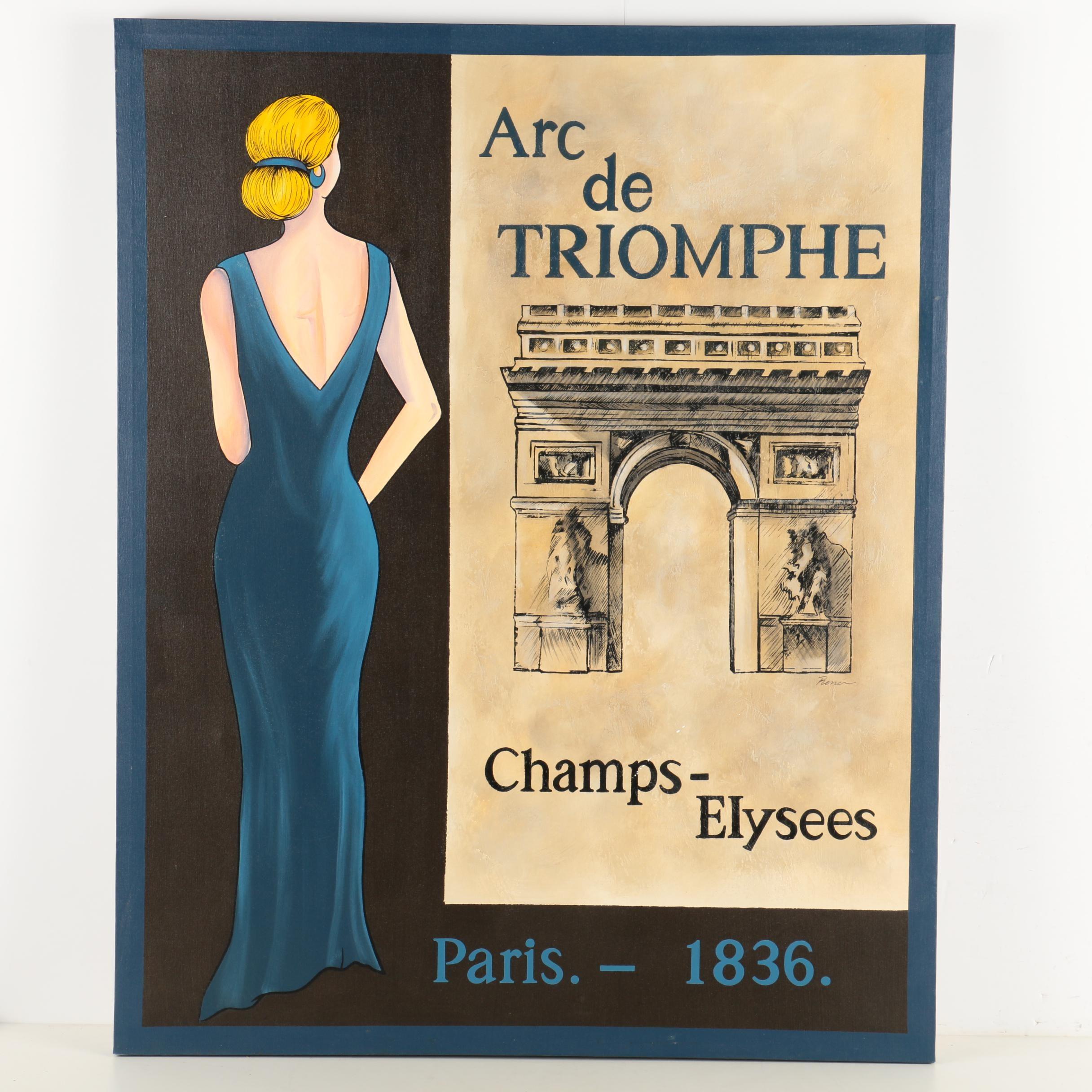 "Embellished Serigraph Print on Canvas ""Arc de Triomphe"""