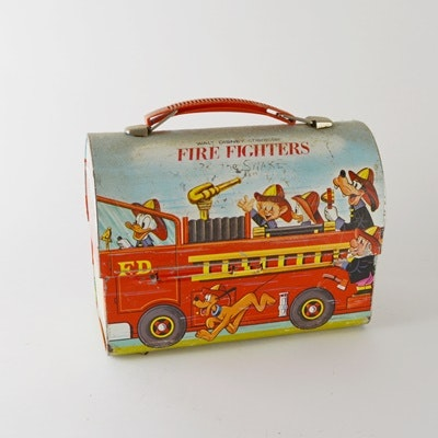 "Walt Disney Character ""Fire Fighters"" Metal Lunchbox"