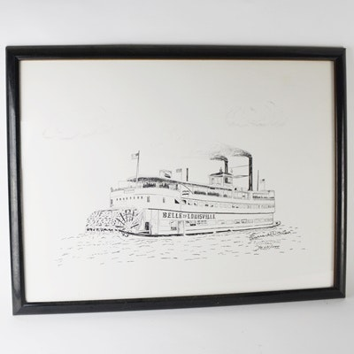 """Belle of Louisville"" Lithograph After Ernest Walker"