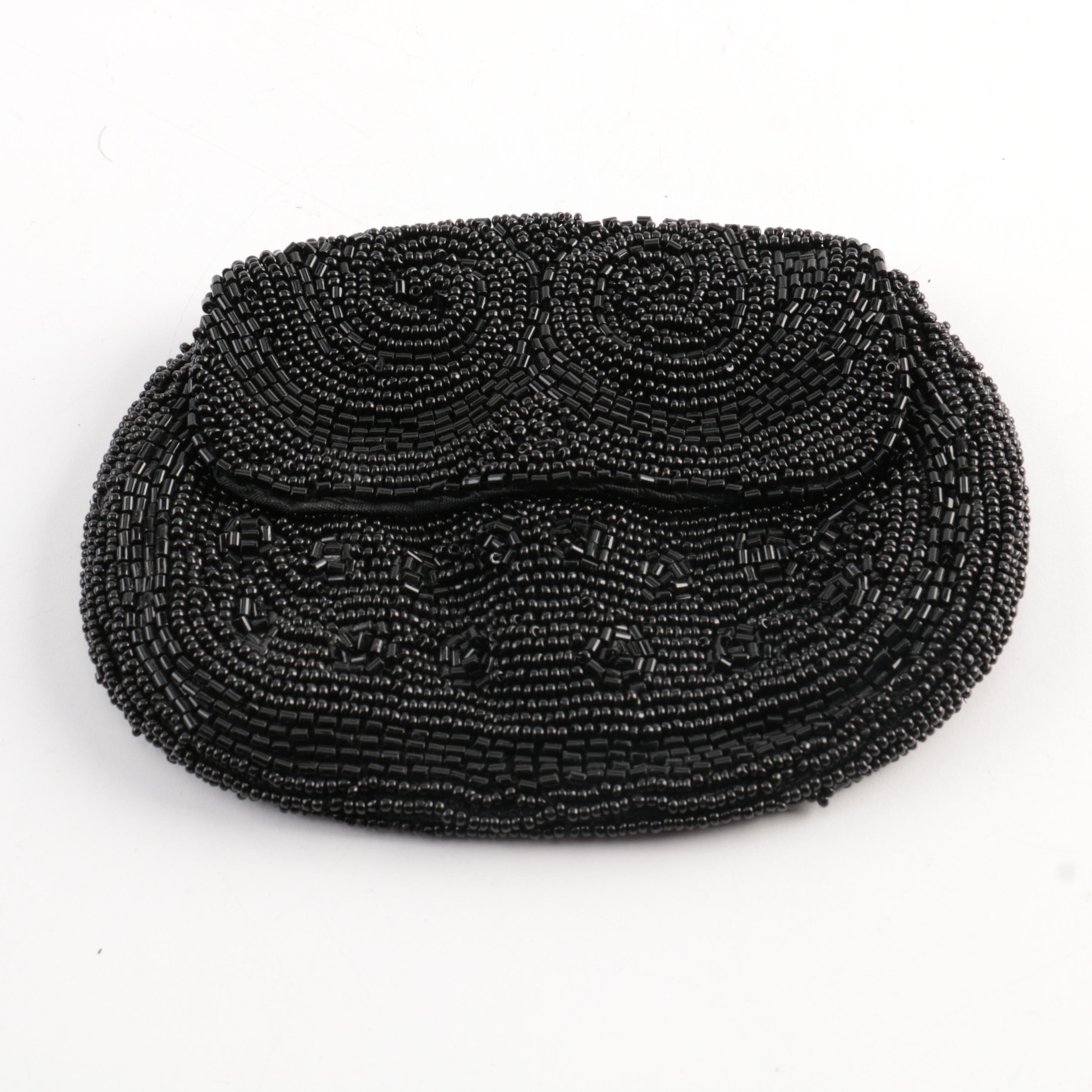 Black Beaded Belt Pouch