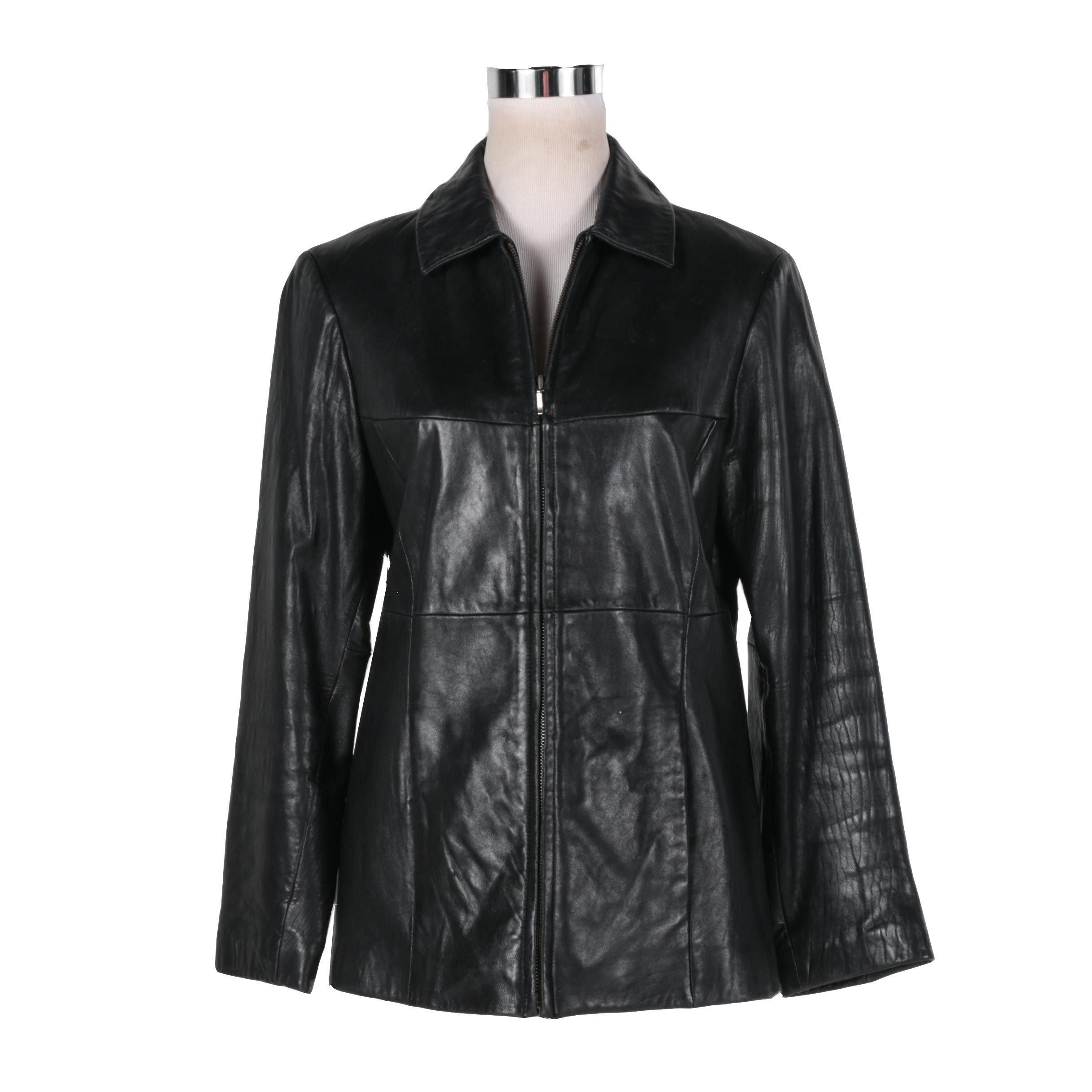 Men's Merona Black Leather Jacket