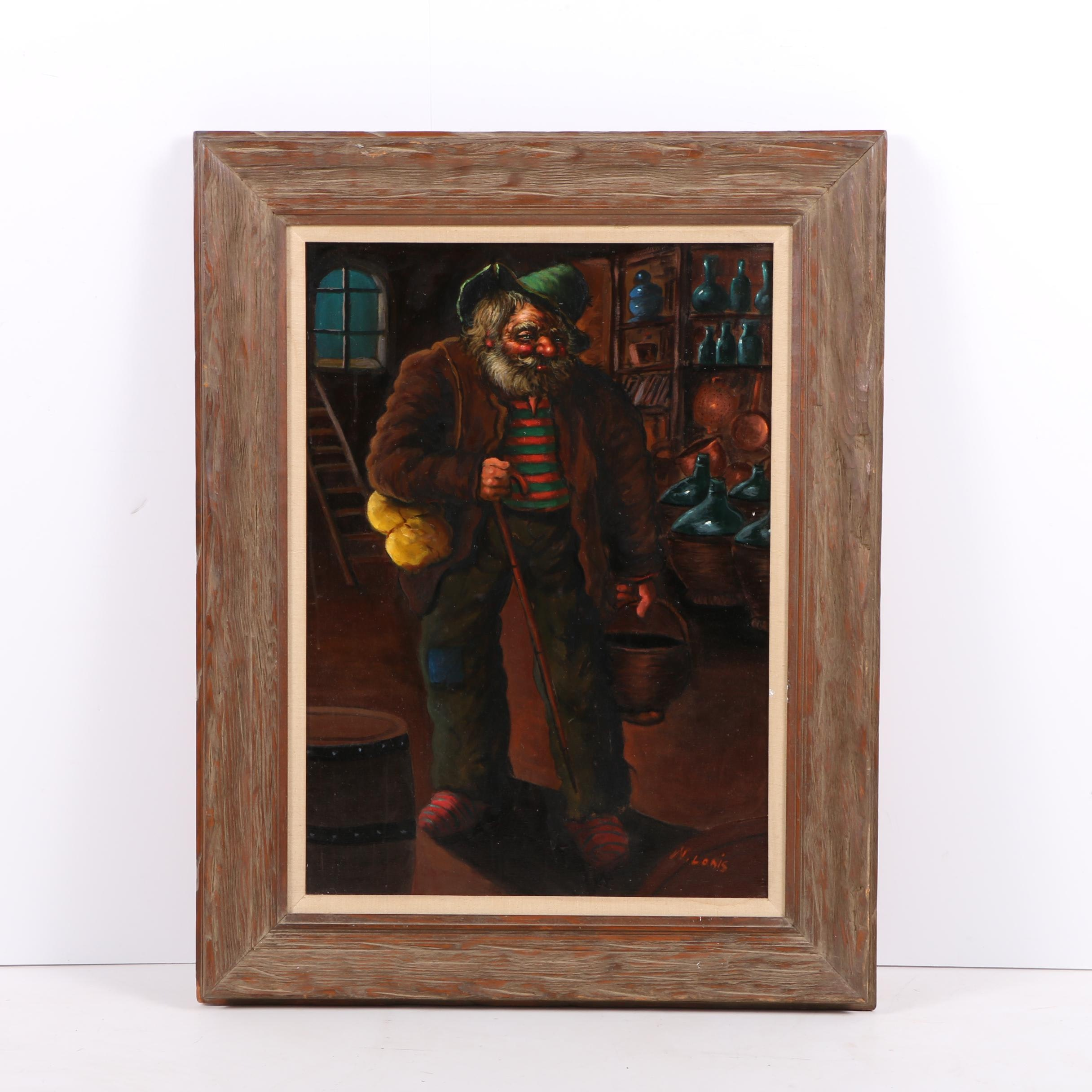 N. Lonis Oil Painting on Canvas of Bearded Man in Wine Cellar