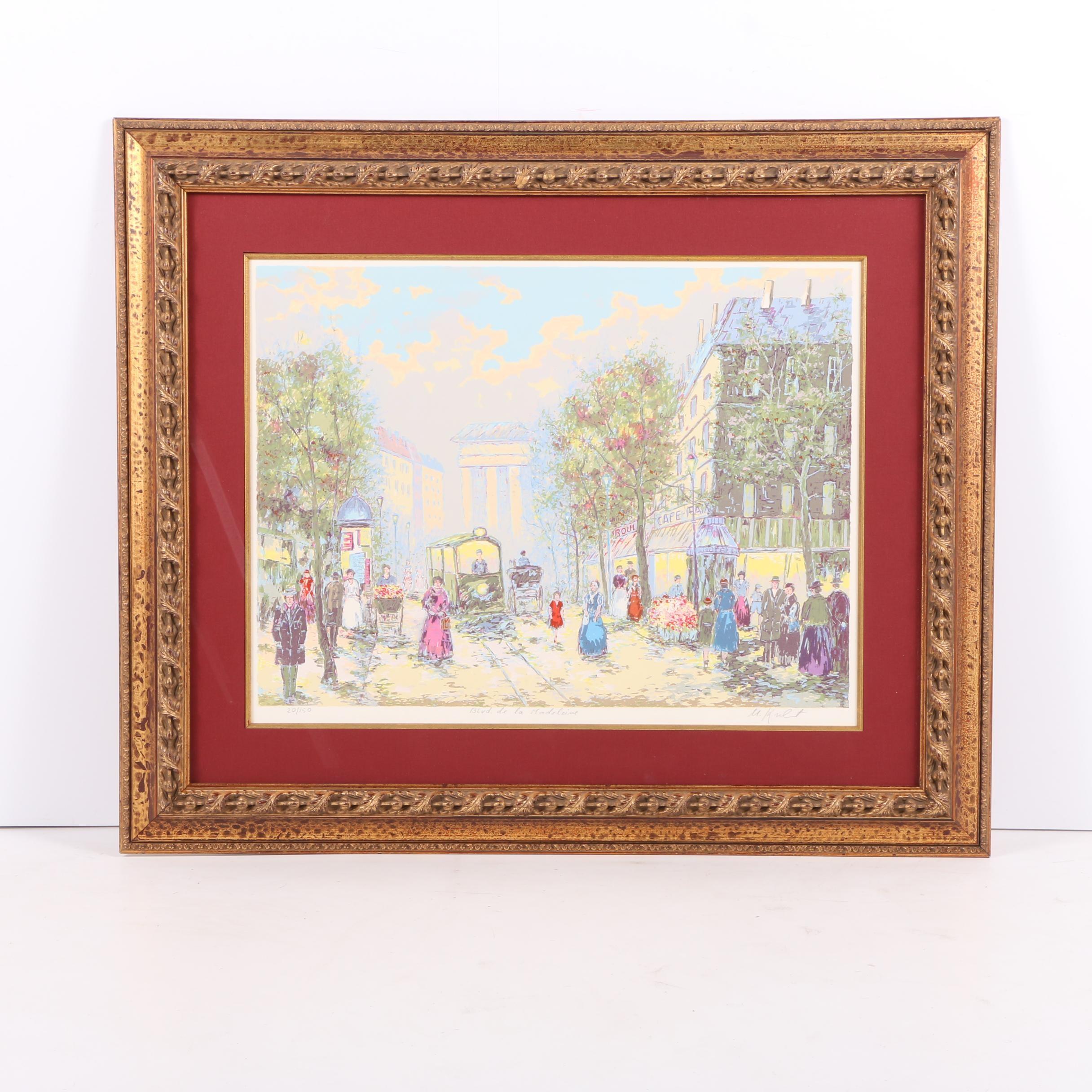 "Limited Edition Serigraph of Parisian Street Scene ""Boulevard de la Madeleine"""