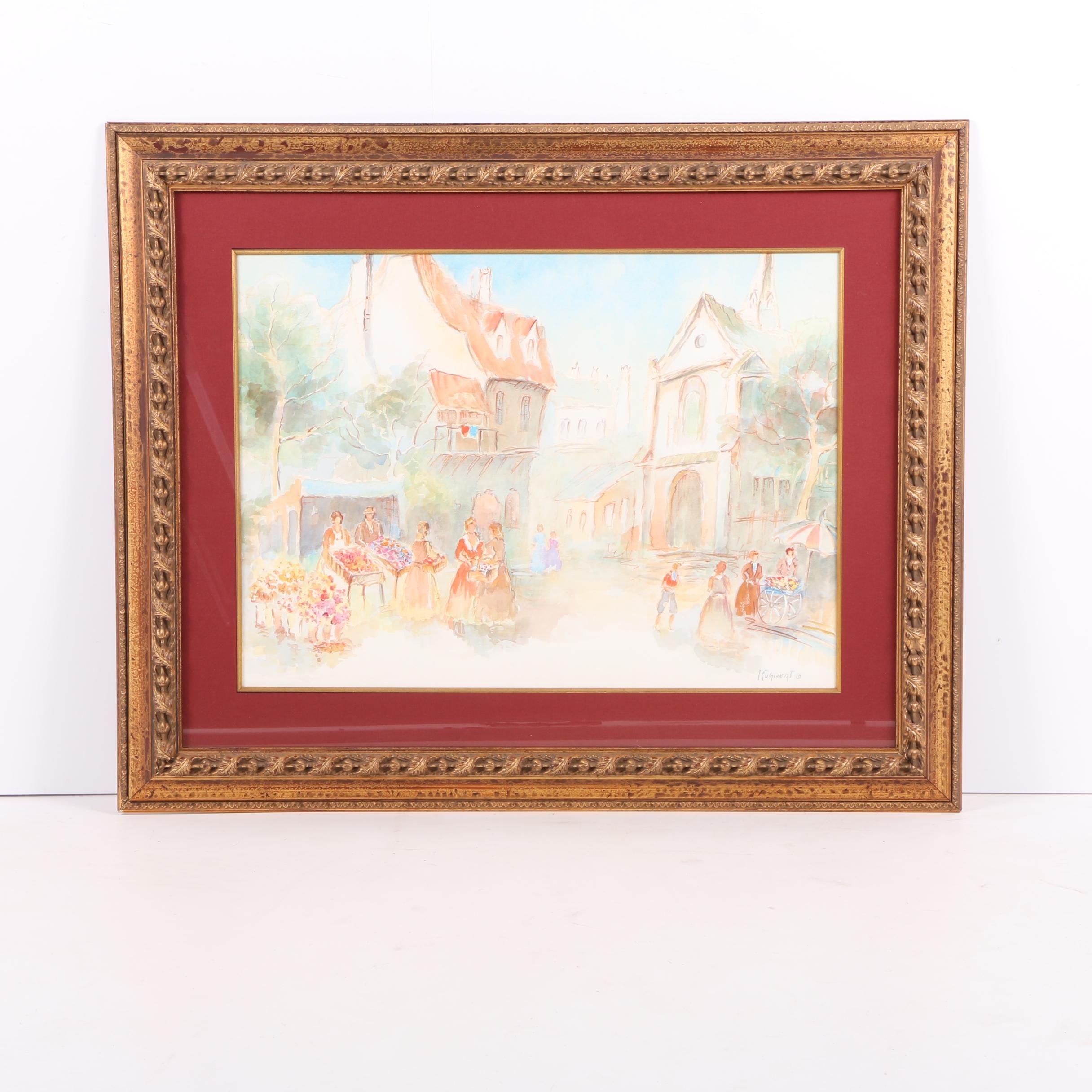 Manfred Kuhnert Watercolor Street Scene on Paper