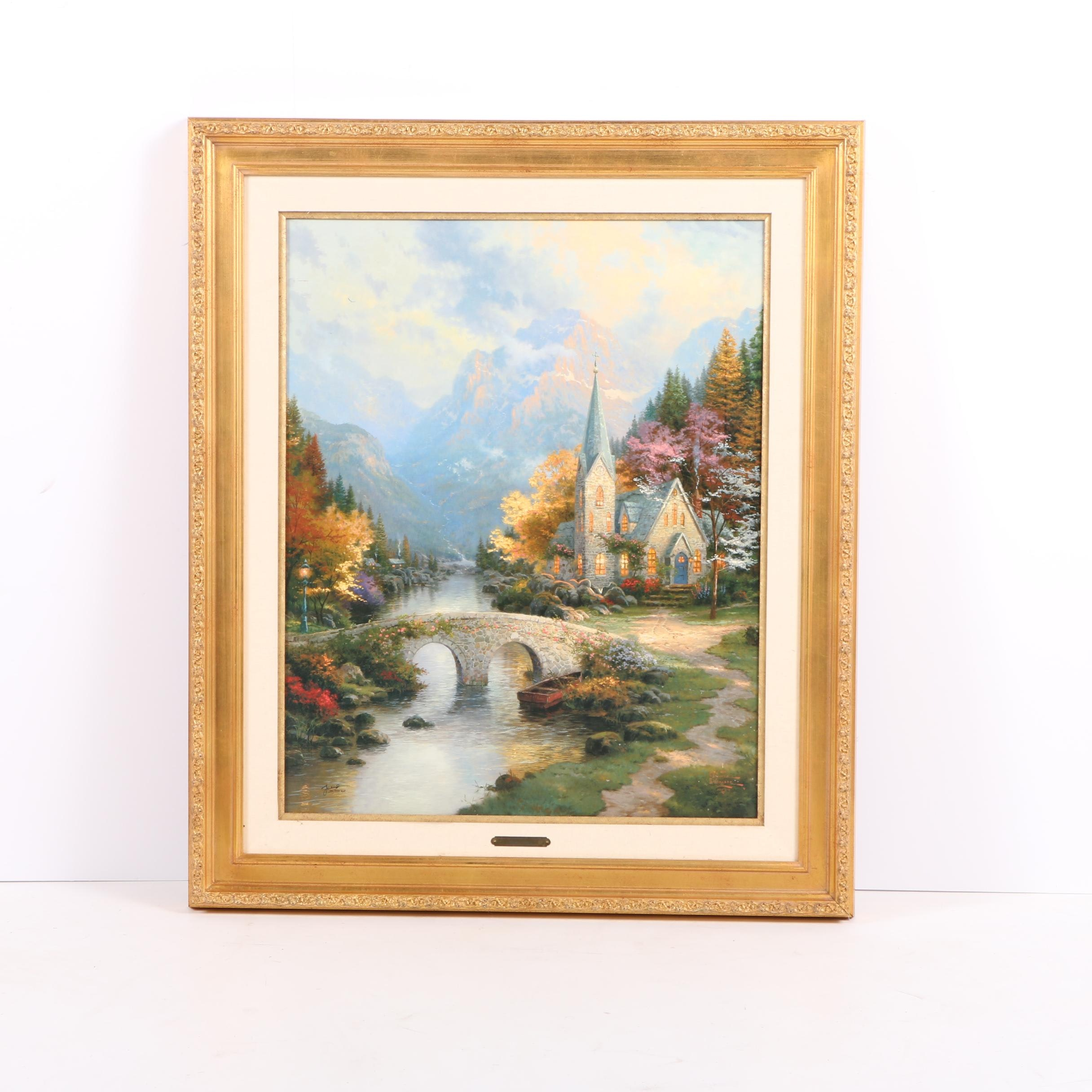 "Offset Lithograph on Canvas After Thomas Kinkade's ""The Mountain Chapel"""