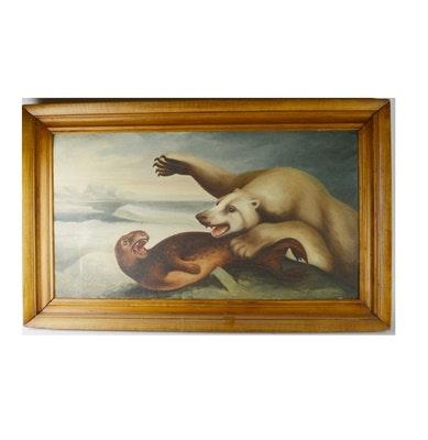 J. Engel Original Oil Painting of Polar Bear and Seal Encounter