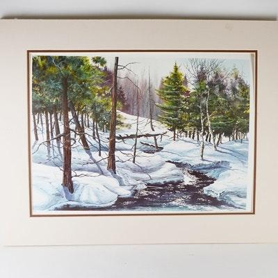 "Dick Bailey ""Winter Brook"" Artist Proof Landscape Offset Lithograph"