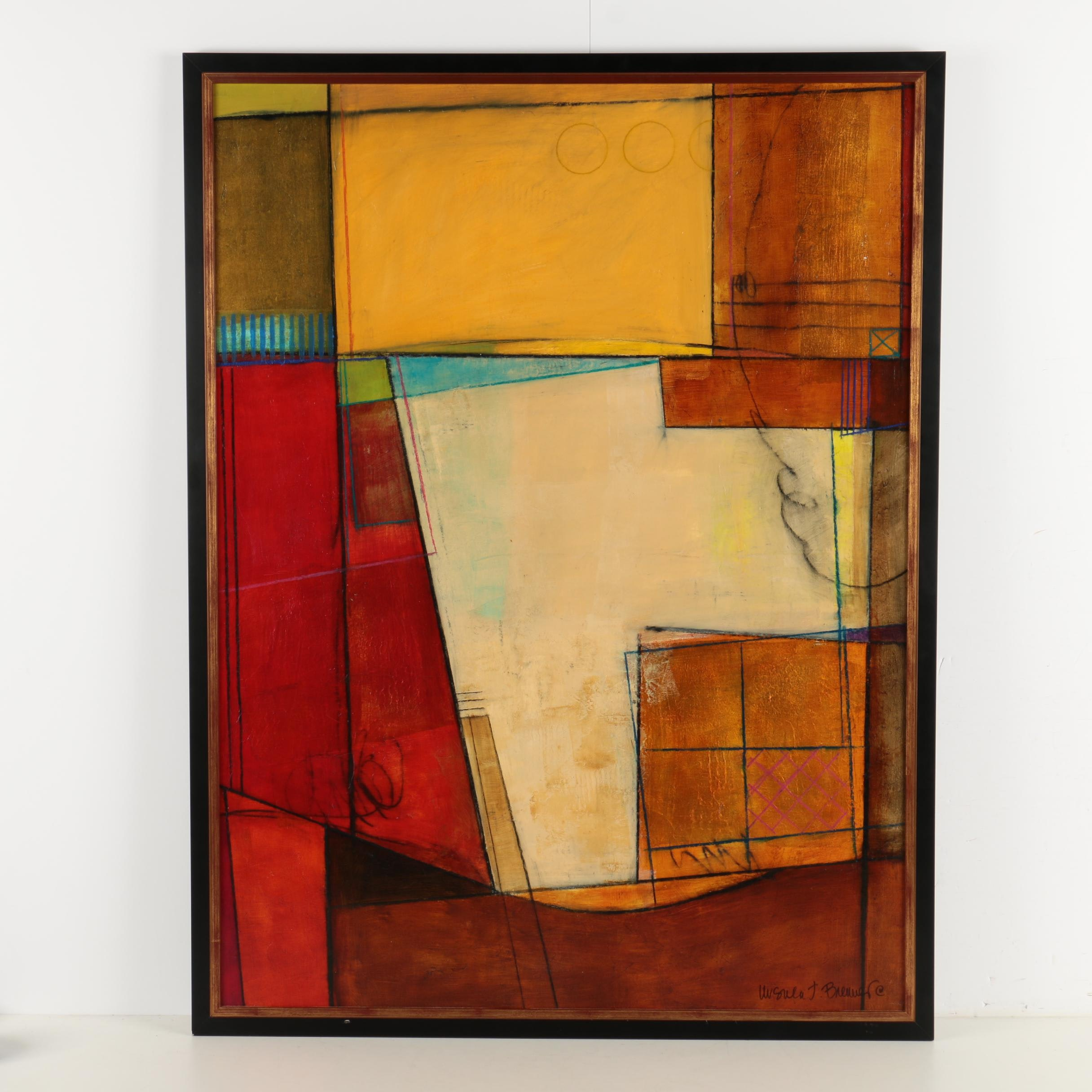 Ursula J. Brenner Oil Painting on Canvas of Abstract Geometric Composition