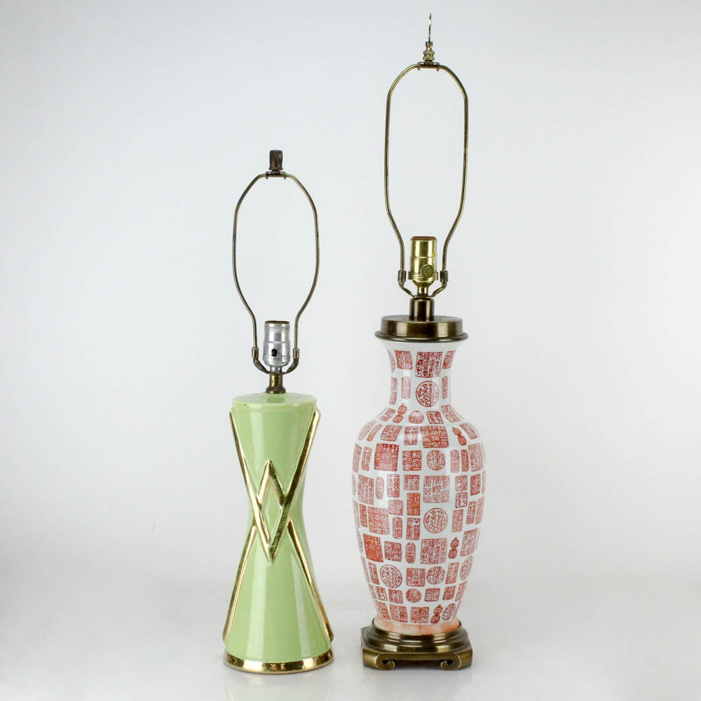 Mid Century Modern and Chinese Ceramic Table Lamps