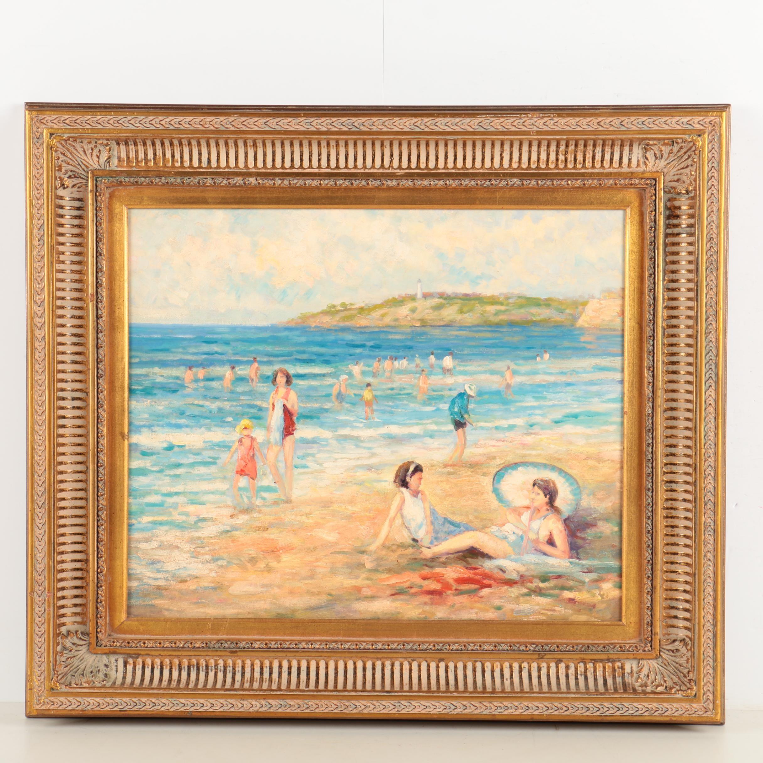 Oil Painting on Canvas of Mid Century Beach Scene
