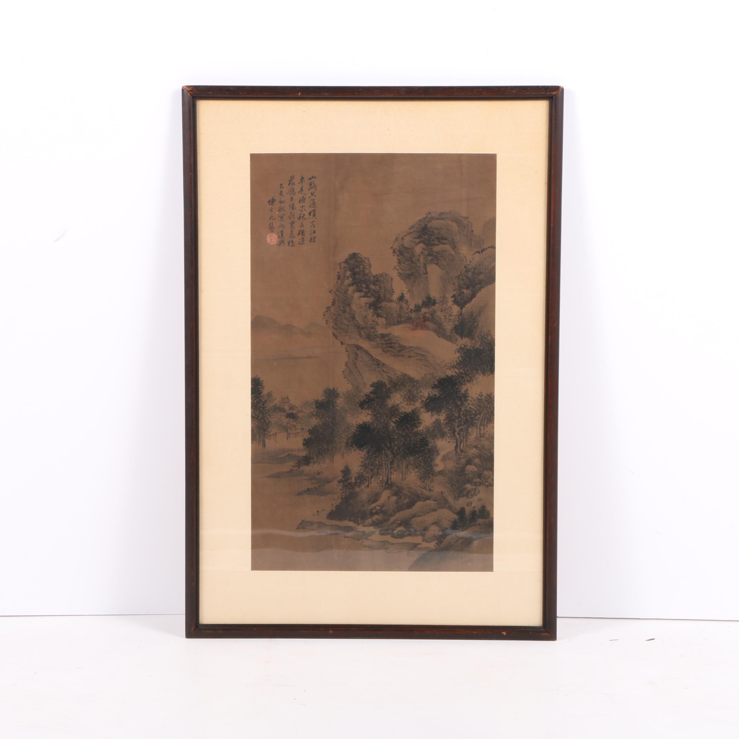 East Asian Ink Wash Landscape Painting on Linen