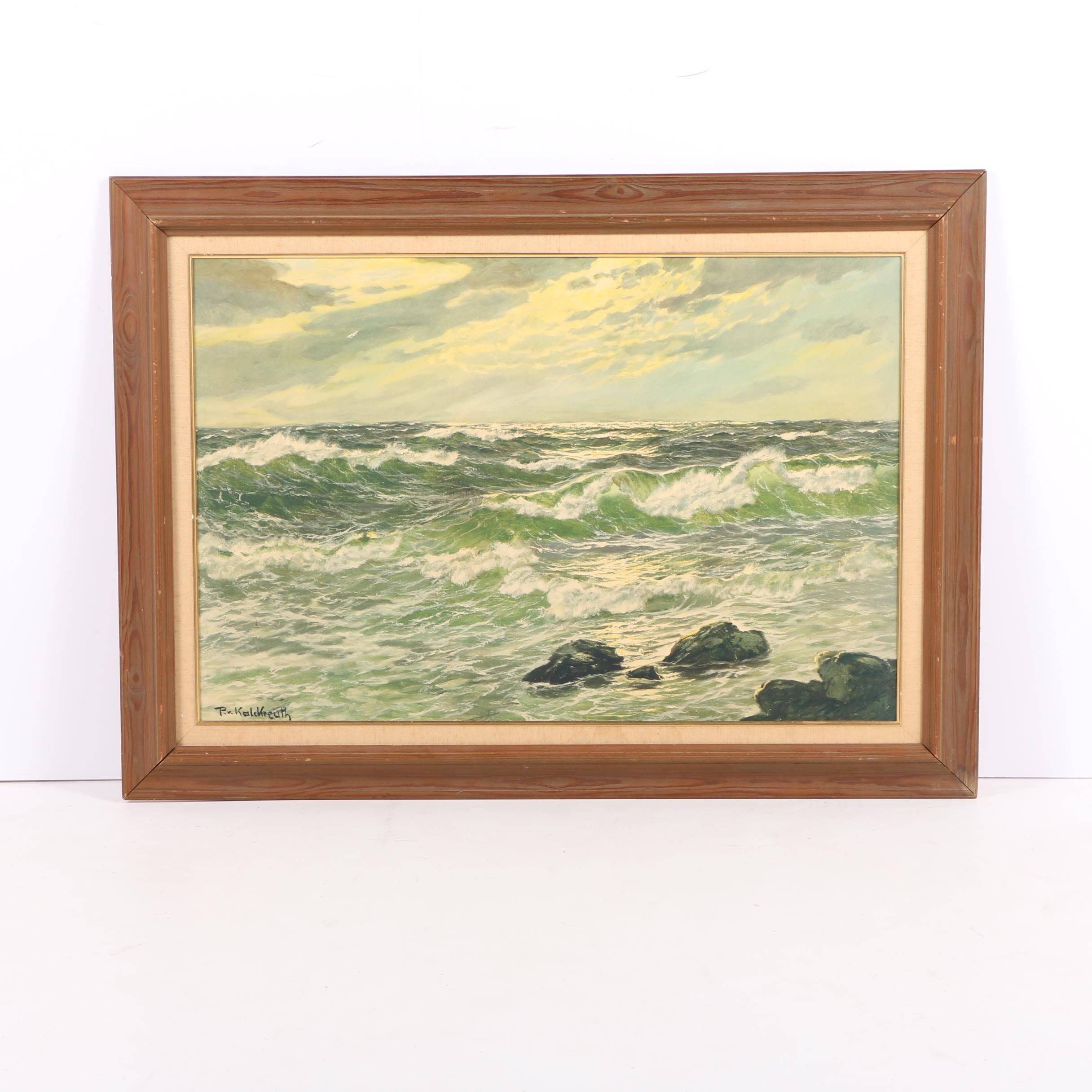 Giclee Print On Paper After Patrick Von Kalkreuth Maritime Painting