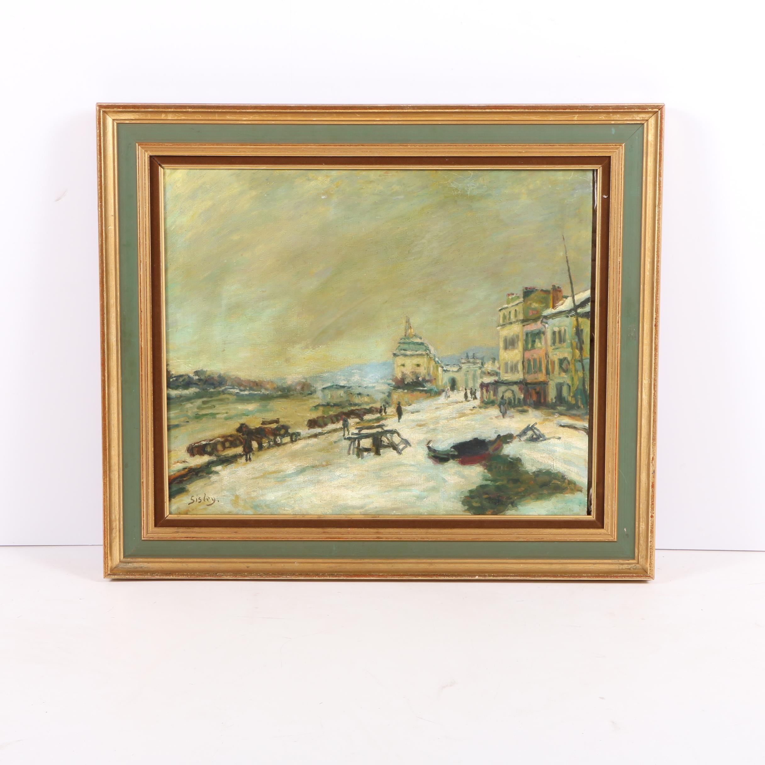 Oil on Canvas Painting in the Manner of Alfred Sisley of a Street Scene