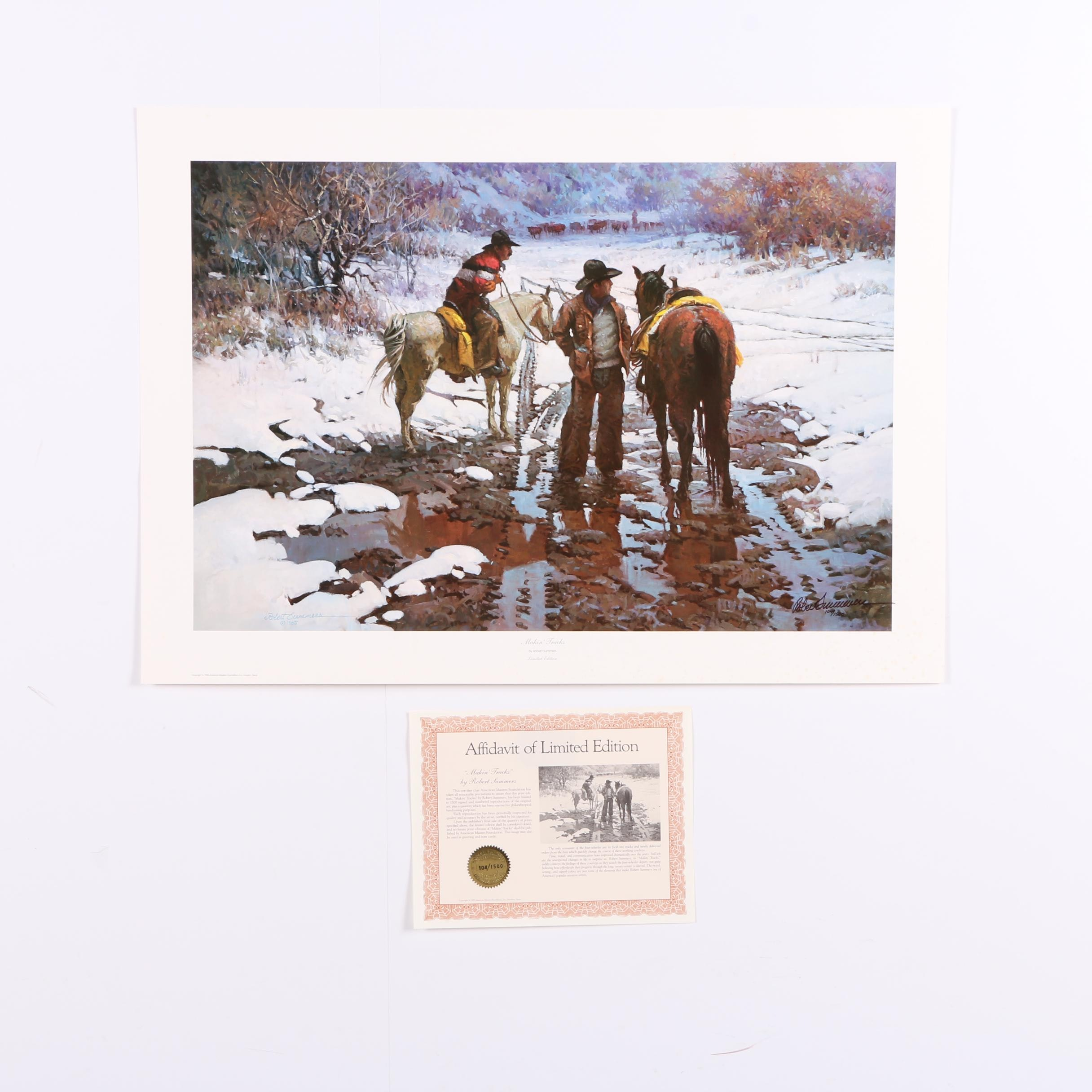 "Robert Summers Limited Edition Offset Lithograph ""Makin' Tracks"""