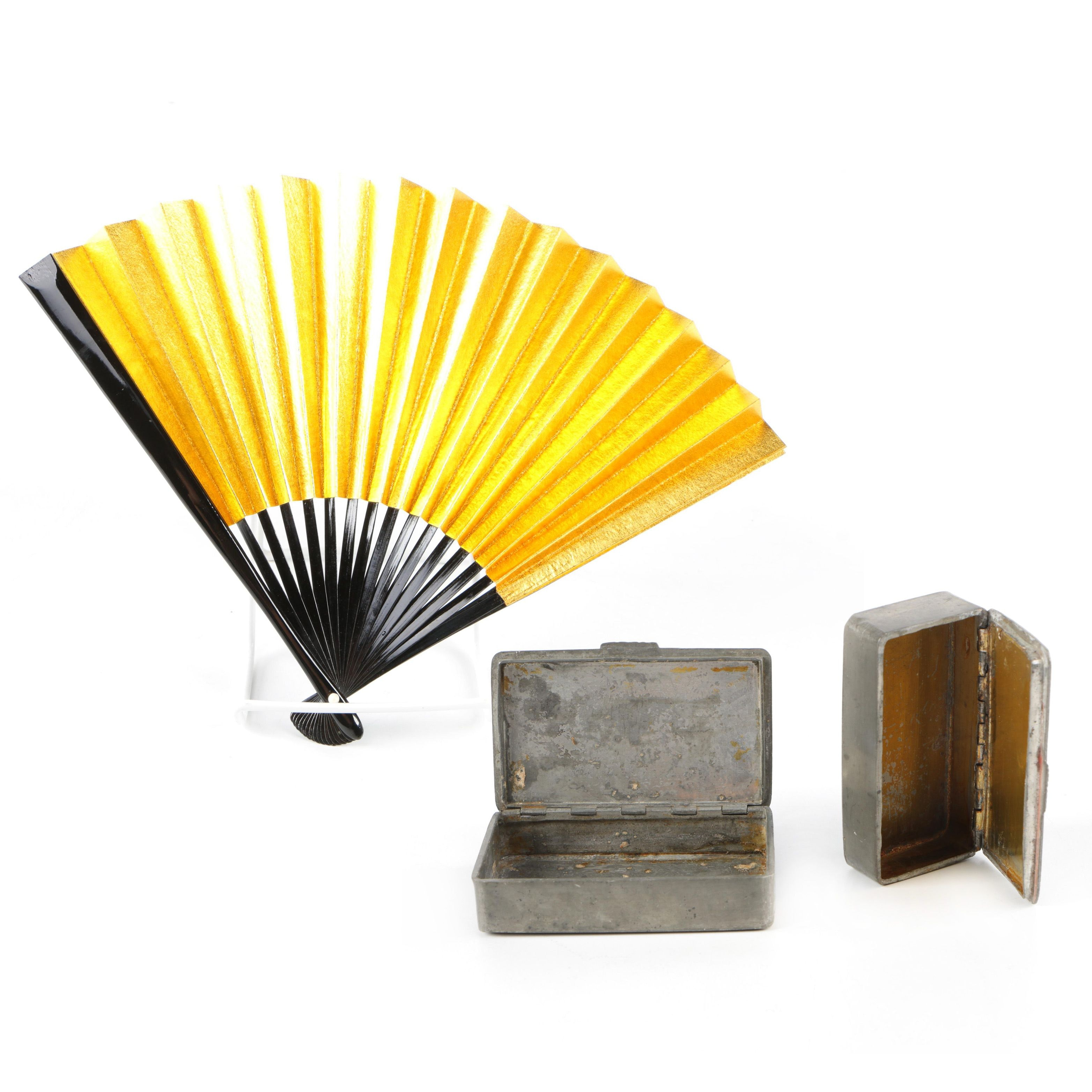 East Asian Style Folding Fan and Pewter Boxes