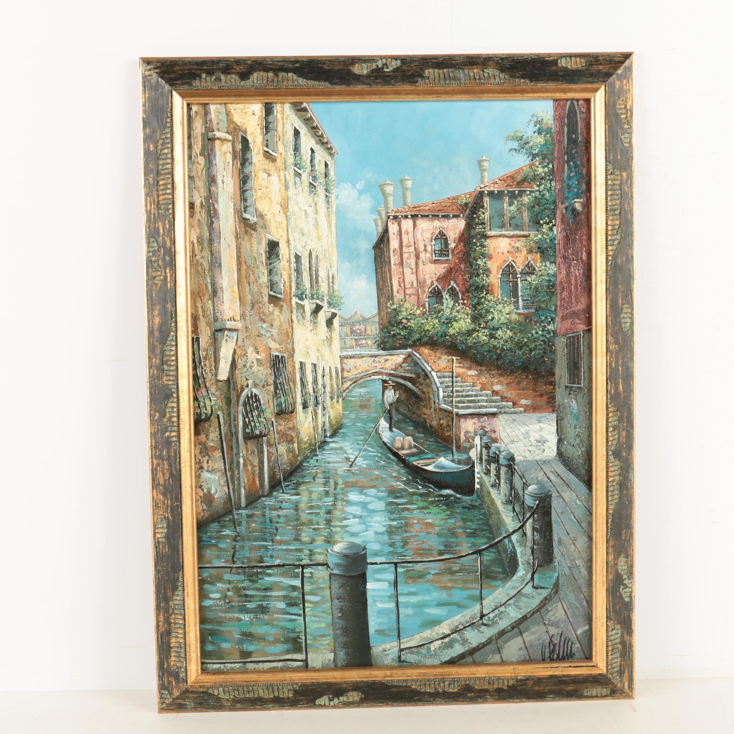 Loris Vendramin Oil Painting on Canvas of a Venetian Canal