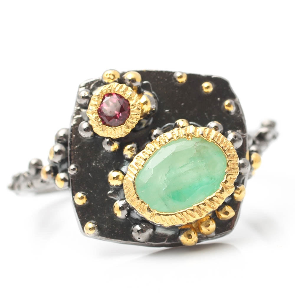 Blackened Sterling Silver Emerald Ring with Garnet Bezels