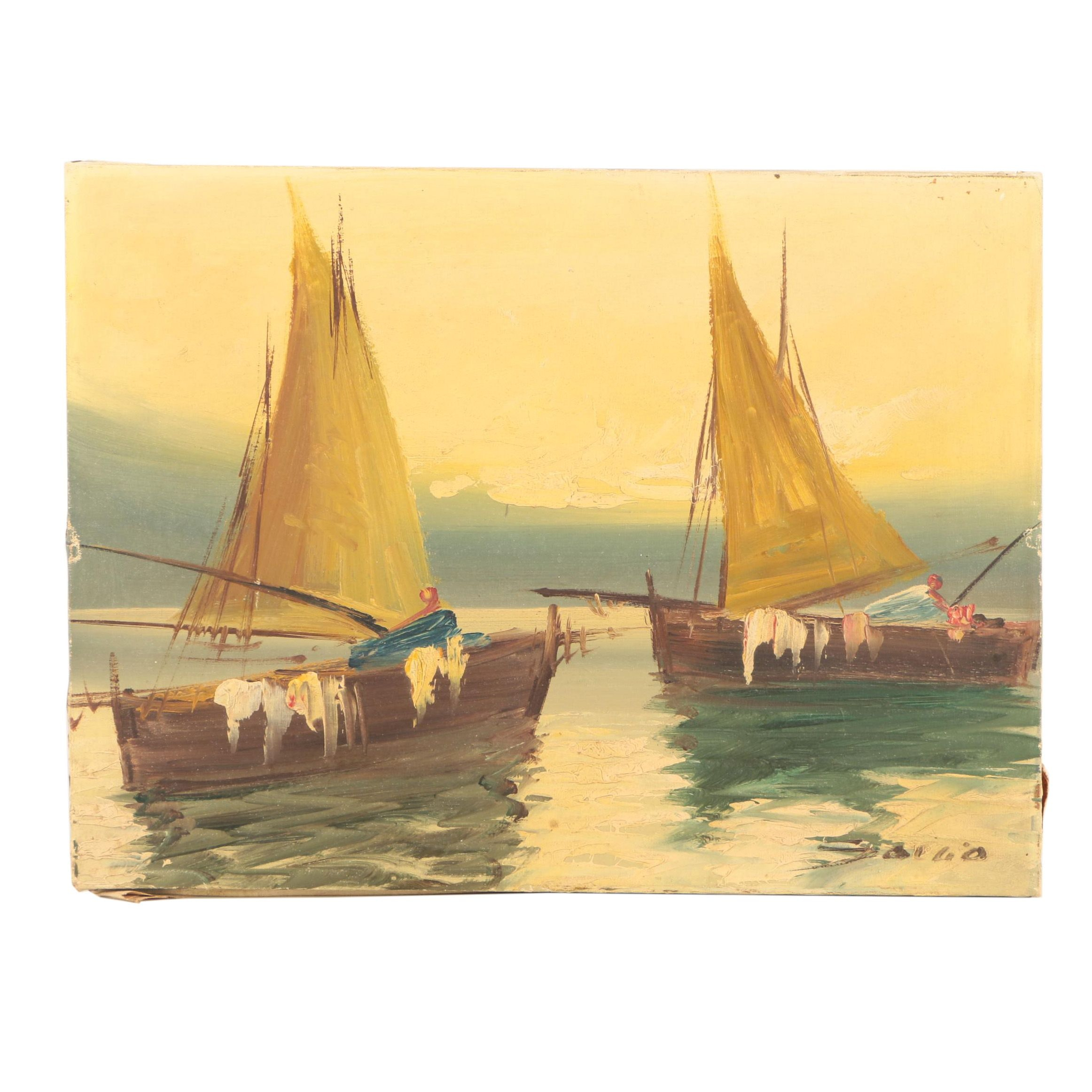 Oil Painting on Canvas of Sailboats