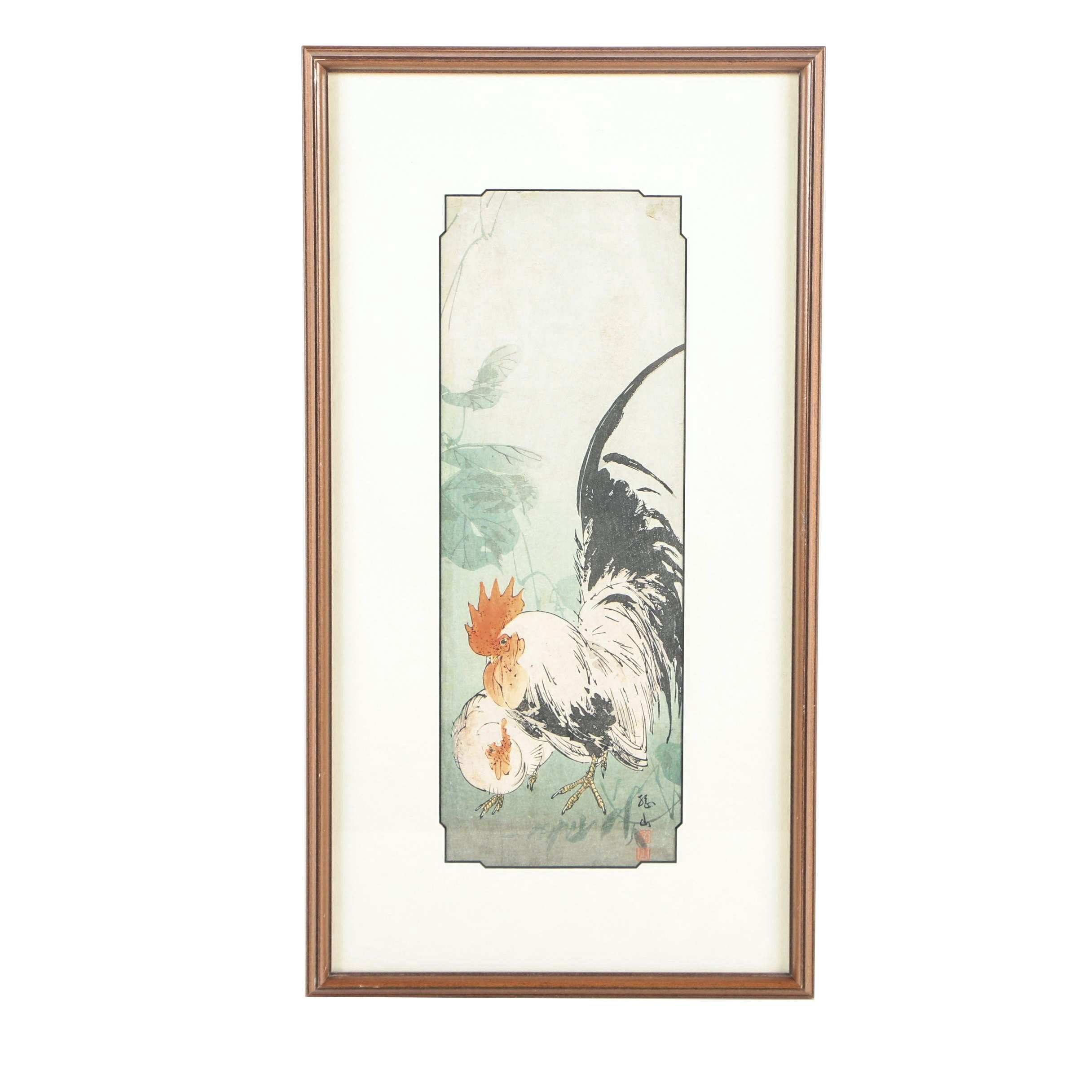 Japanese Woodblock Print of a Hen and Rooster