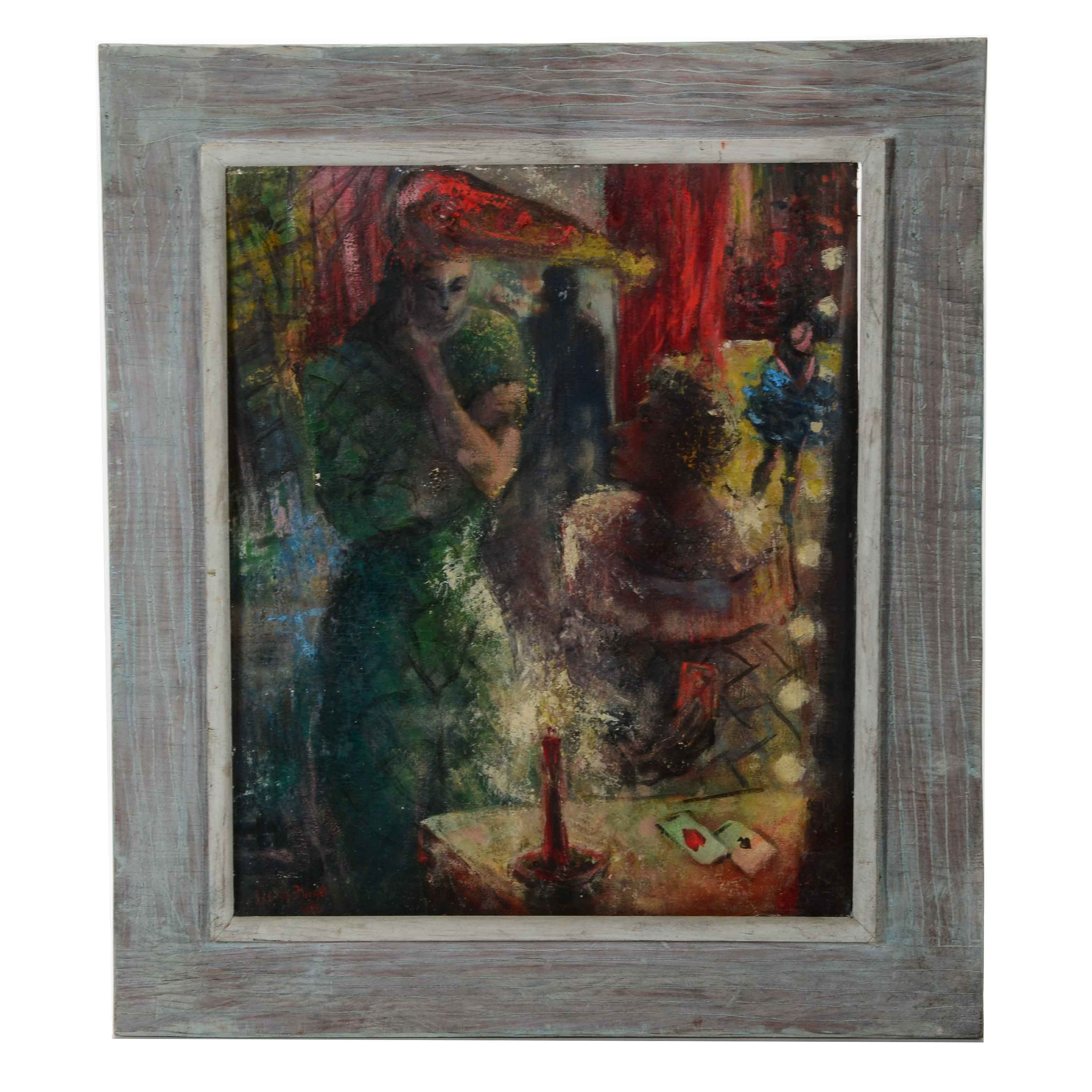 Leslie Fliegel Signed Expressionist Oil Painting