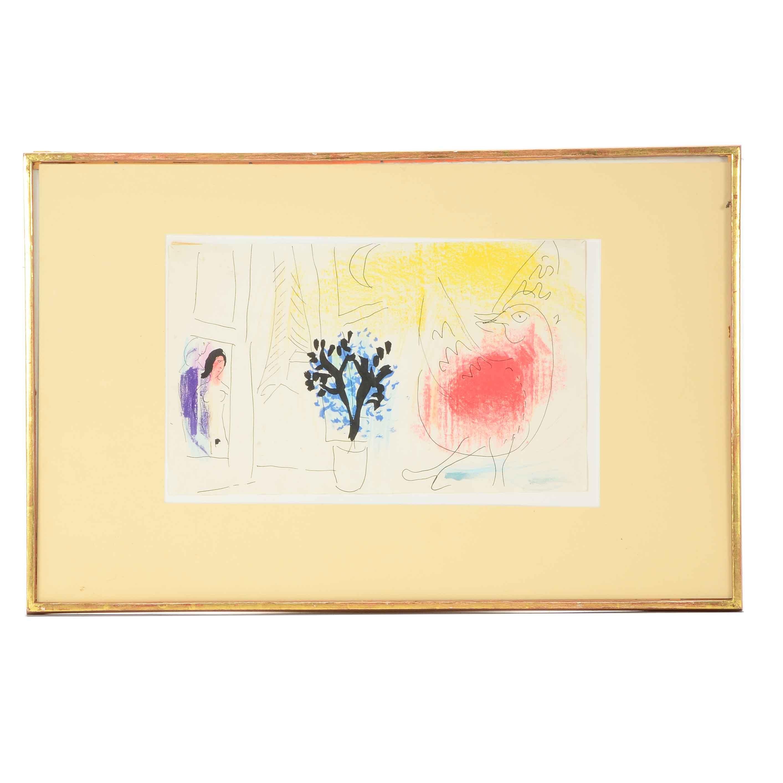 """Jacques Lassaigne 1957 Publication Page After Marc Chagall's """"Le Coq Rouge"""""""