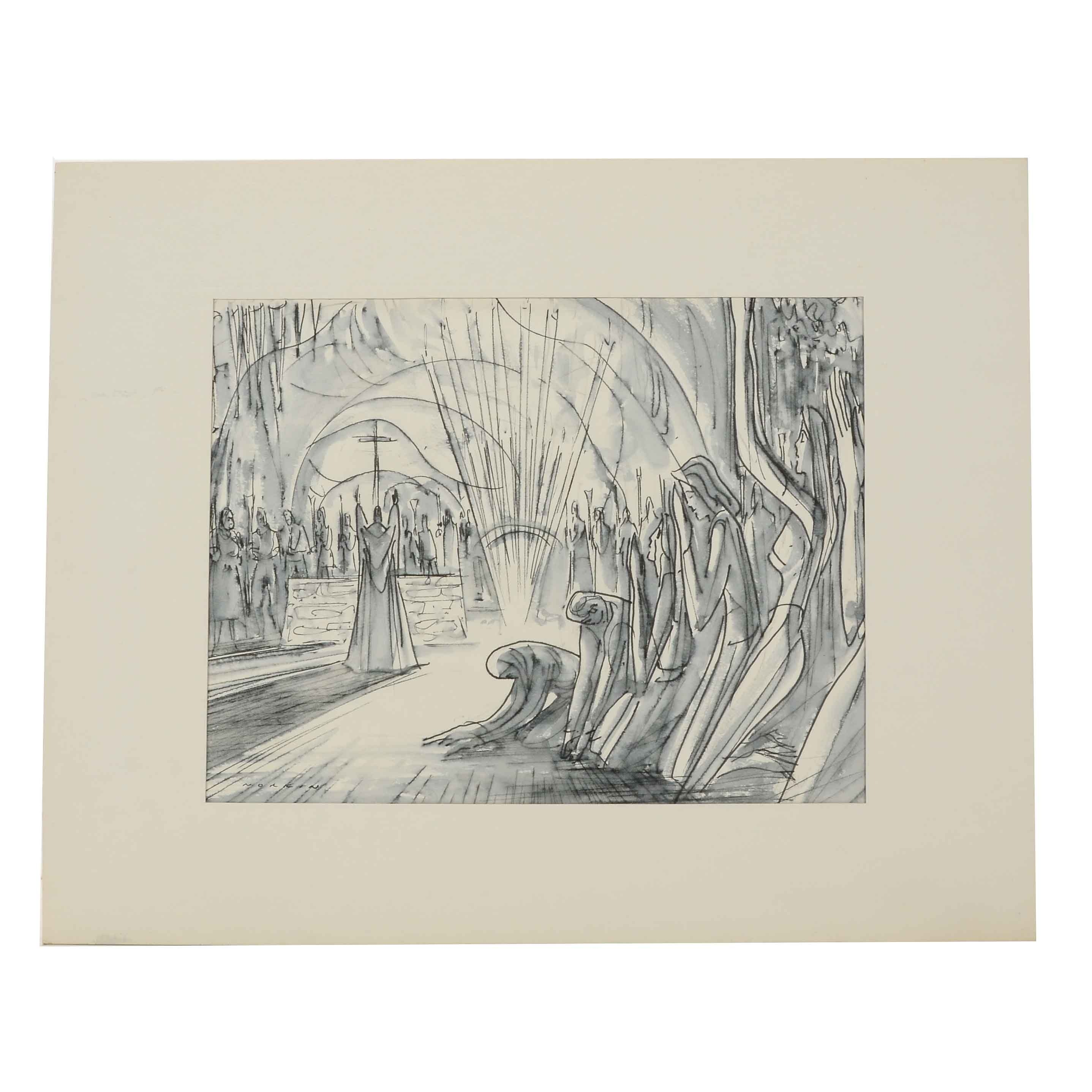 """Sam Norkin Original Ink Wash Illustration """"France: Lourdes"""""""