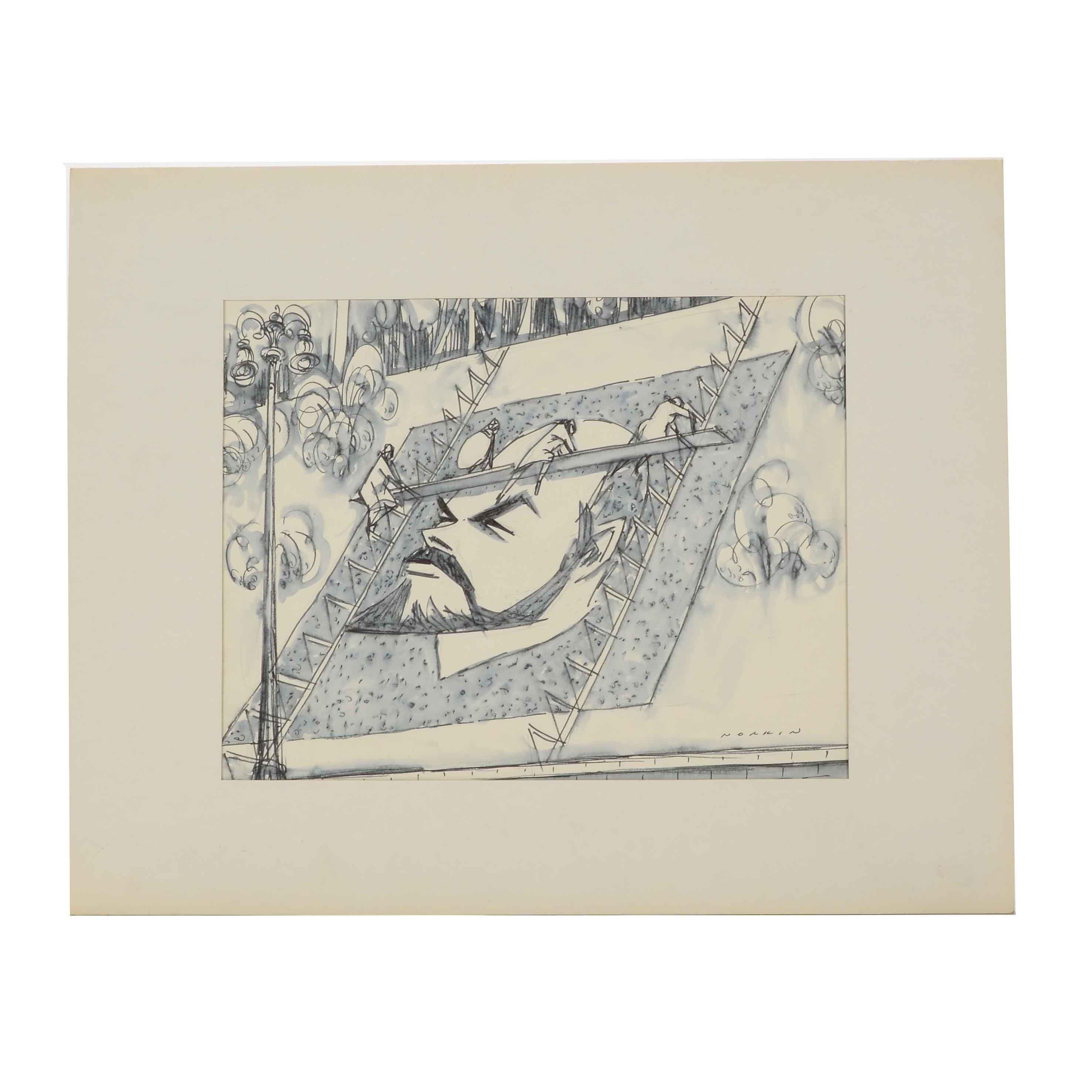 """Sam Norkin Original Ink Wash Illustration """"USSR: Kiev"""""""