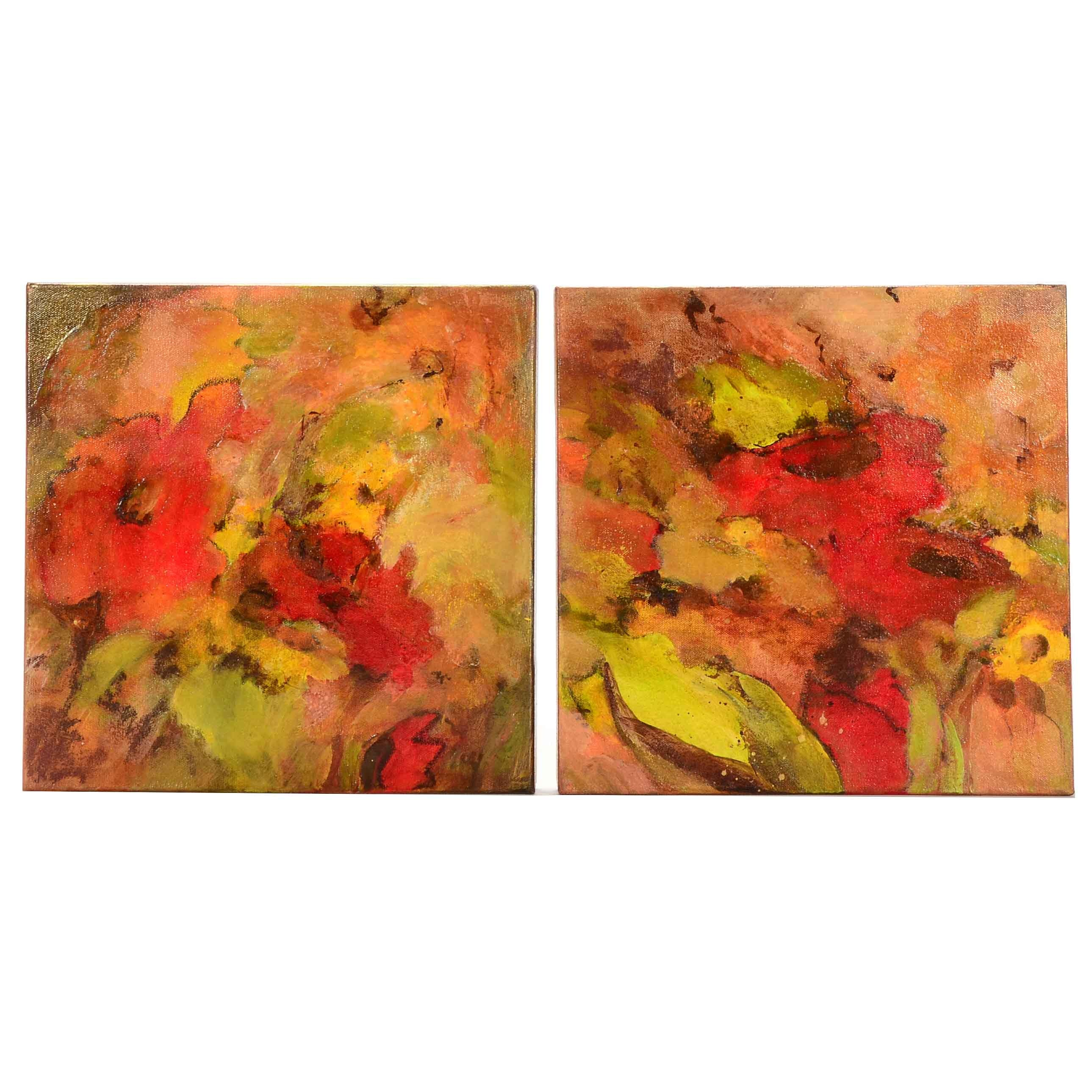 "Original Mixed Media on Canvas Diptych ""Abstract Flowers"""