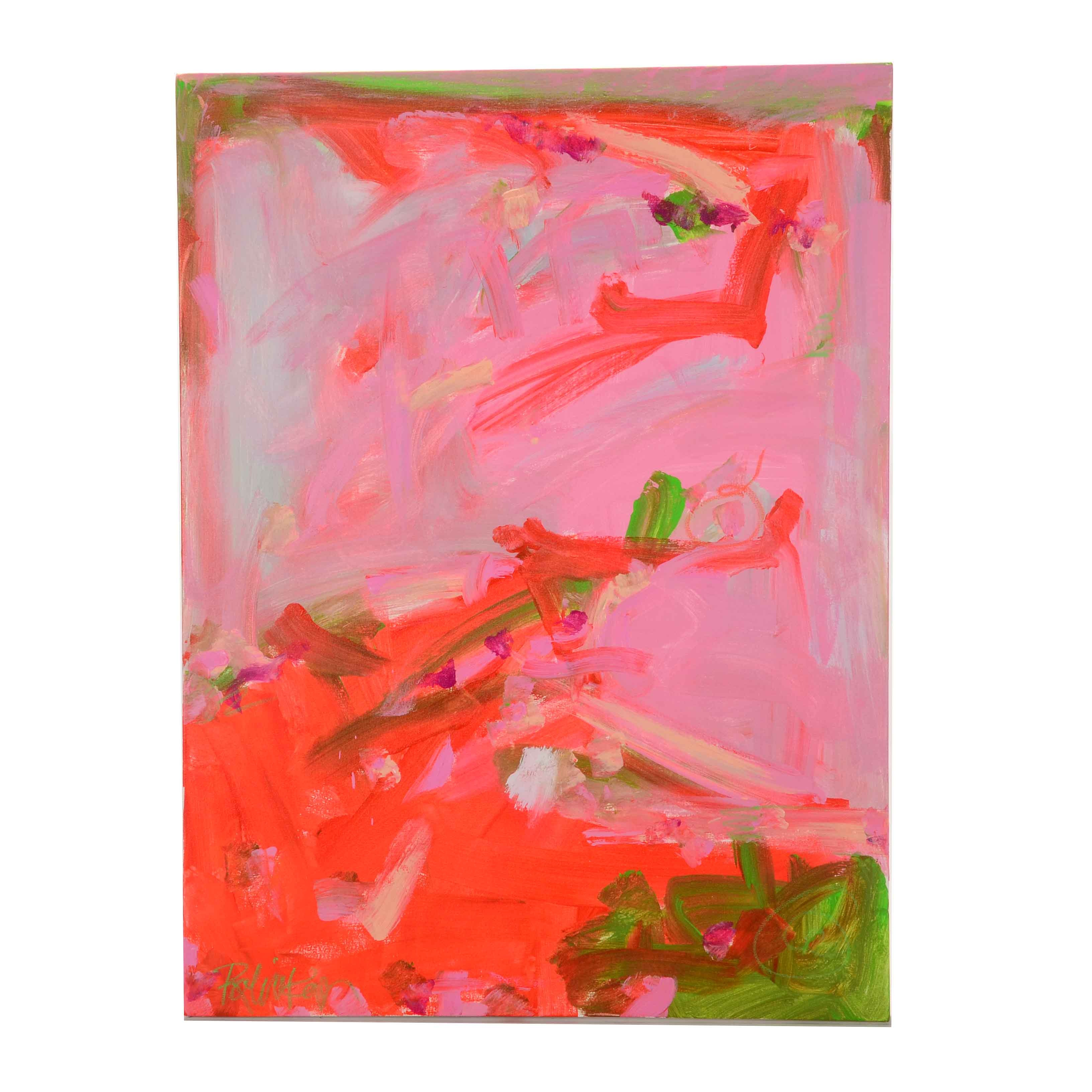 """Robbie Kemper Original Abstract Acrylic Painting """"Pink Lime"""""""