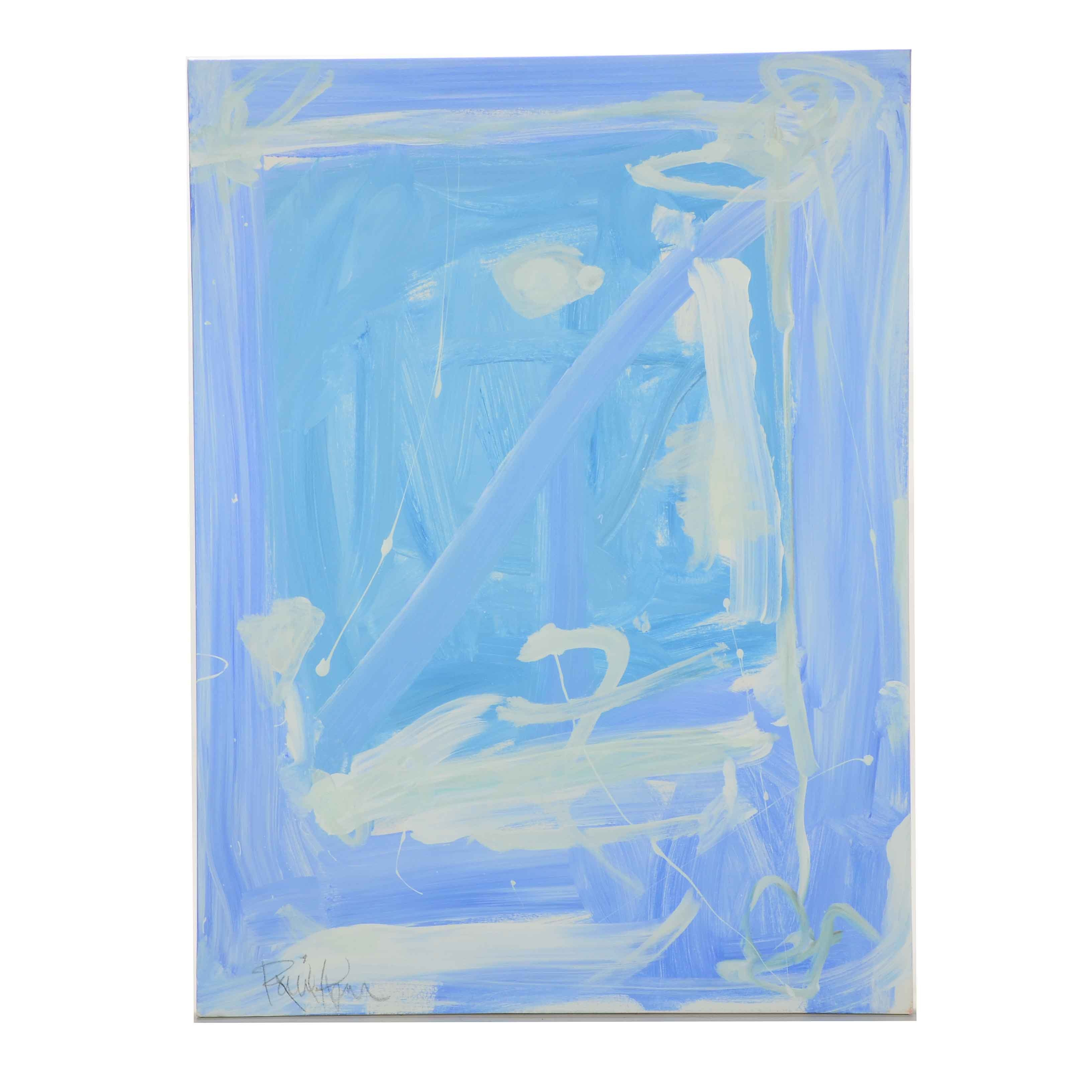 "Robbie Kemper Original Abstract Acrylic Painting ""White Diagonal"""