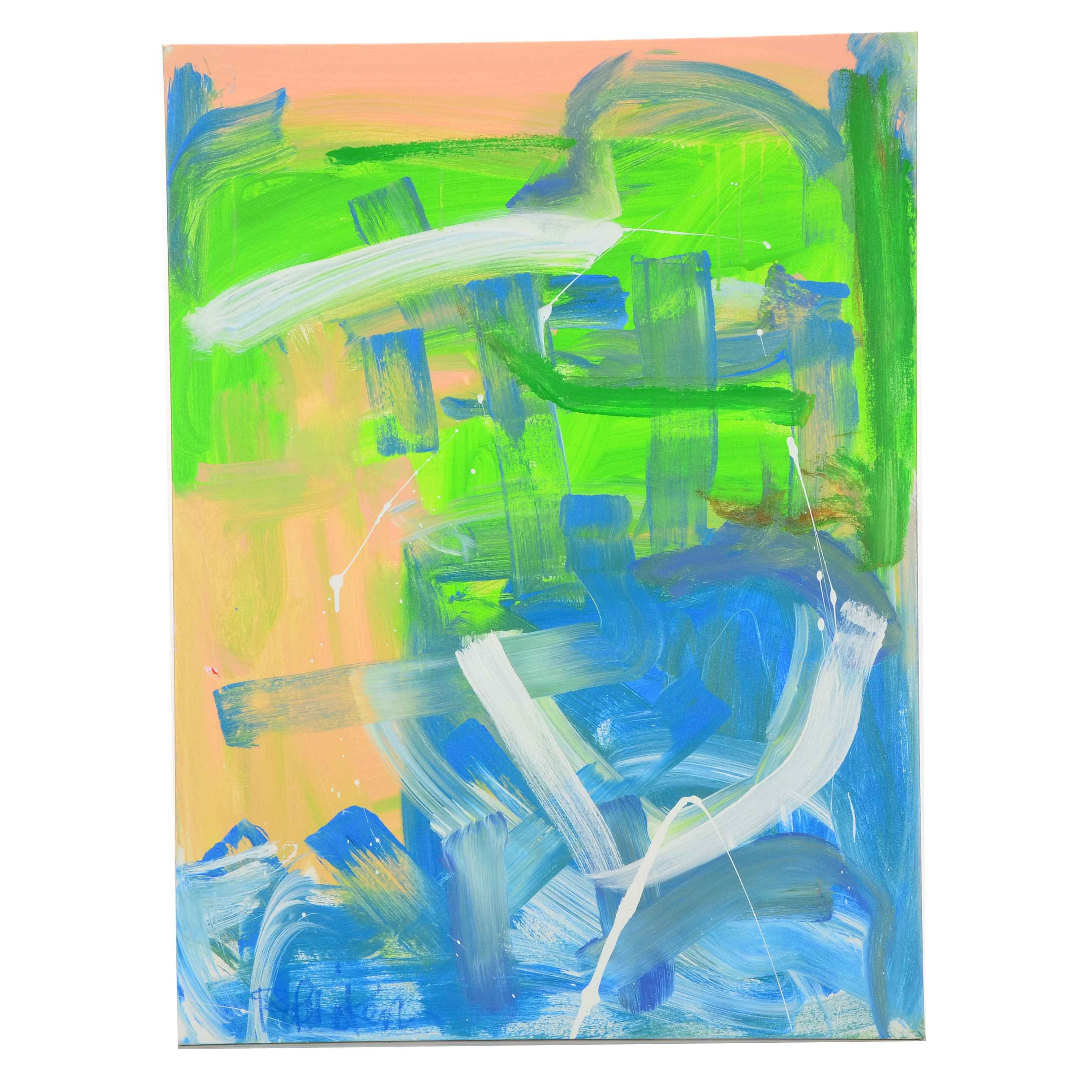 """Robbie Kemper Original Abstract Acrylic Painting """"White Marks"""""""