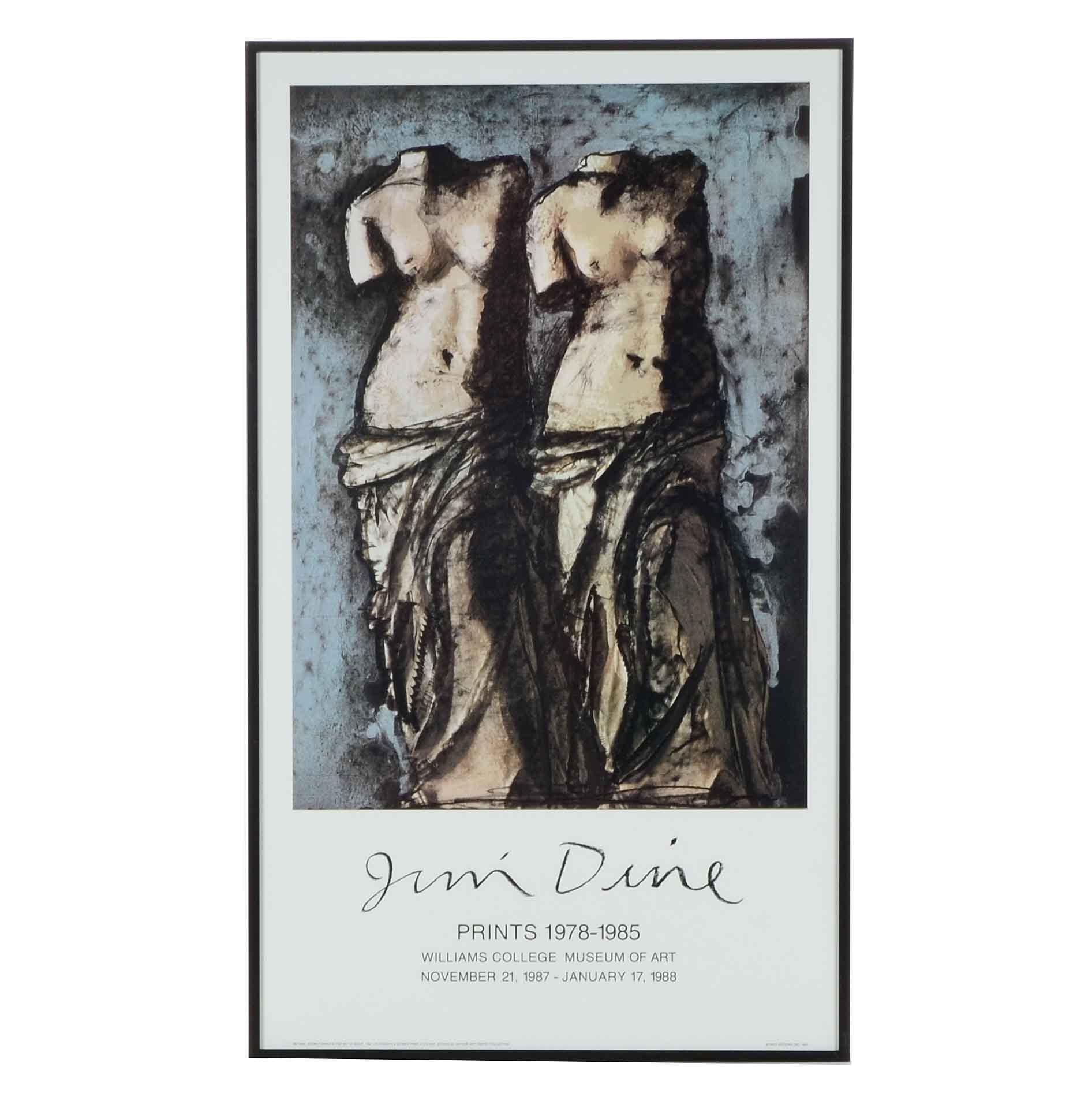 "Jim Dine 1984 Offset Lithograph Exhibition Poster ""Prints 1978-1985"""