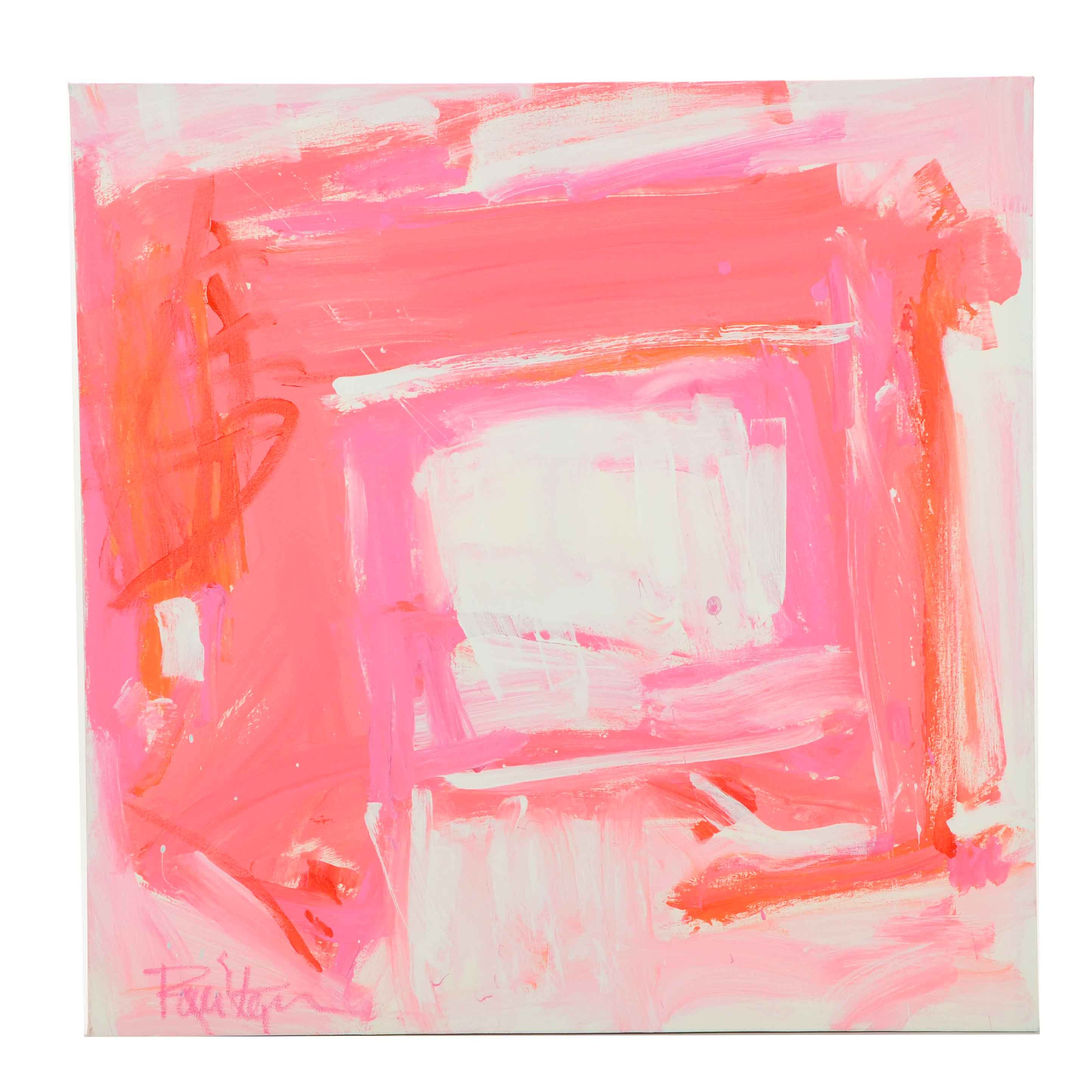 """Robbie Kemper Abstract Acrylic Painting """"White and Pink Squares"""""""