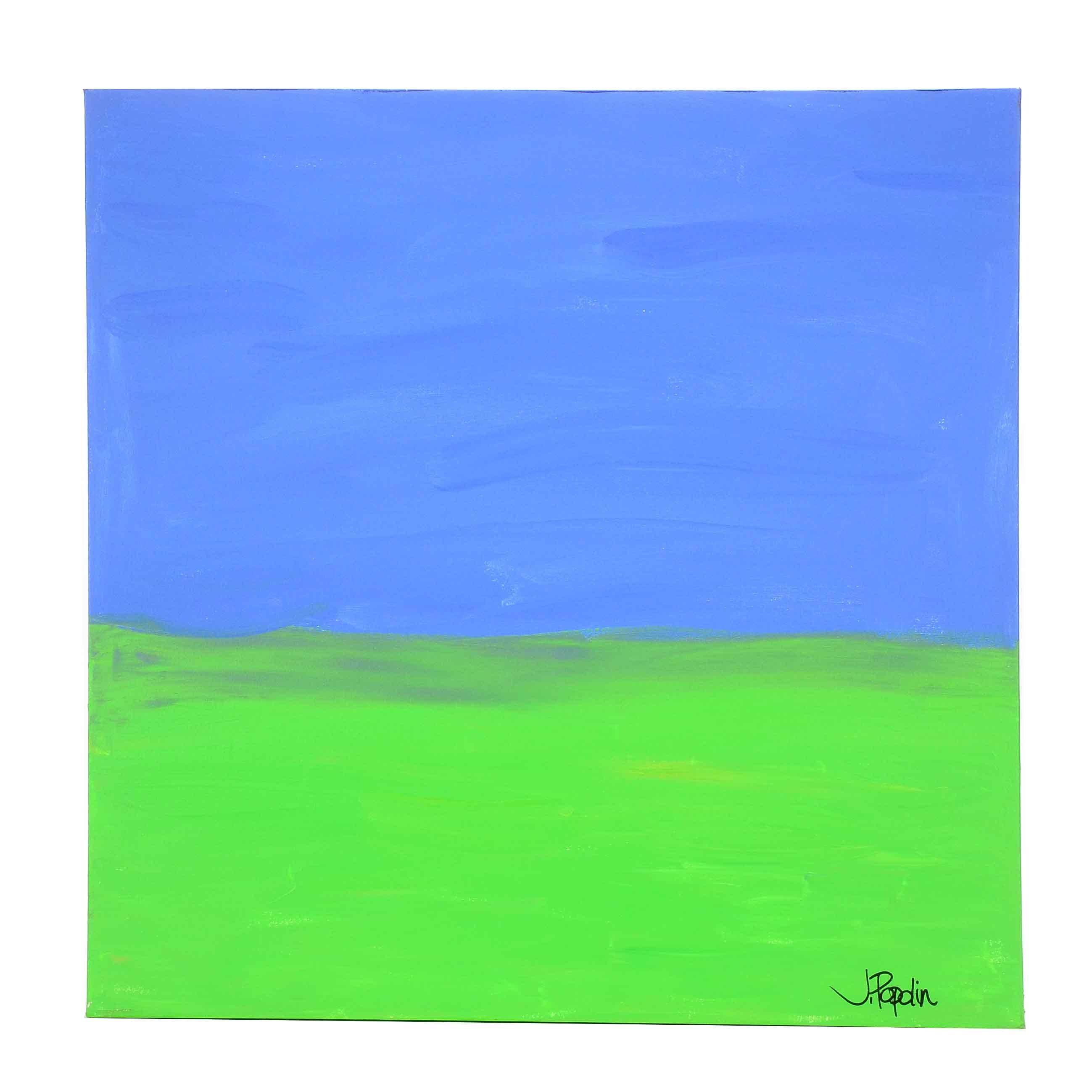 "J. Popolin Acrylic Painting on Canvas ""Blue, Green Fields"""