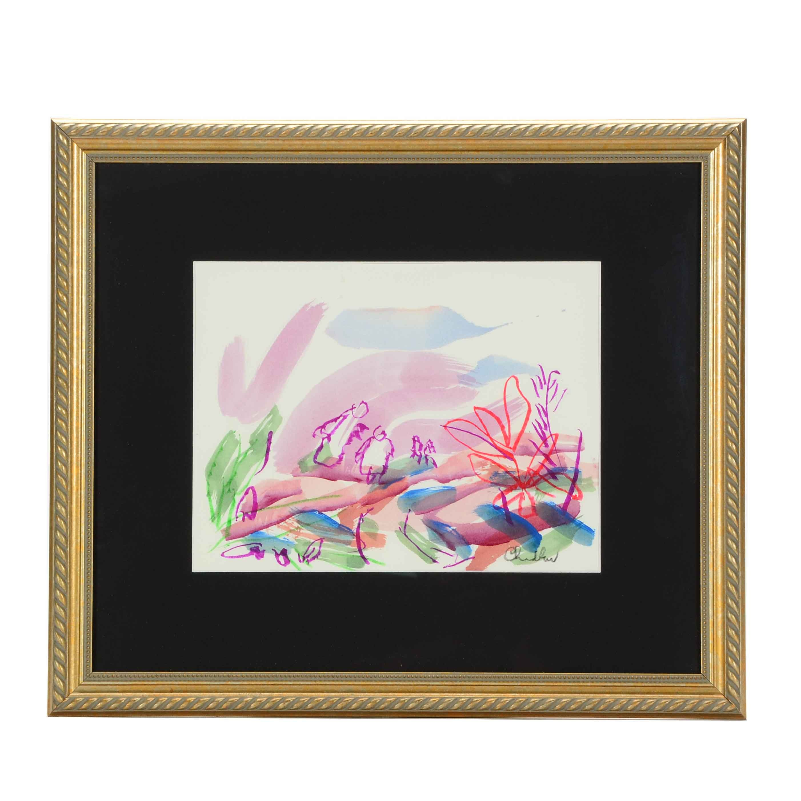 Paul Chidlaw Signed Abstract Watercolor