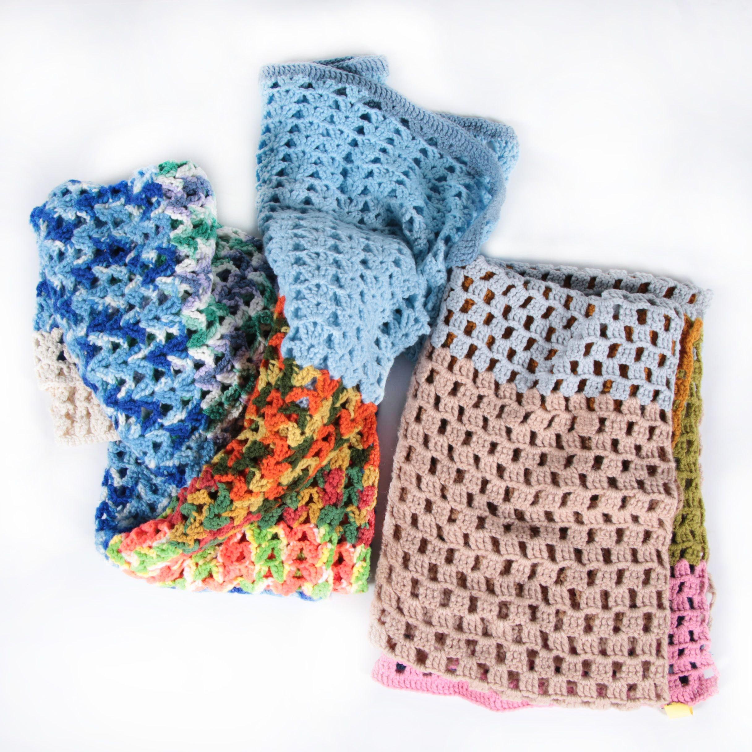 Vintage Hand-Crocheted Afghan Blankets