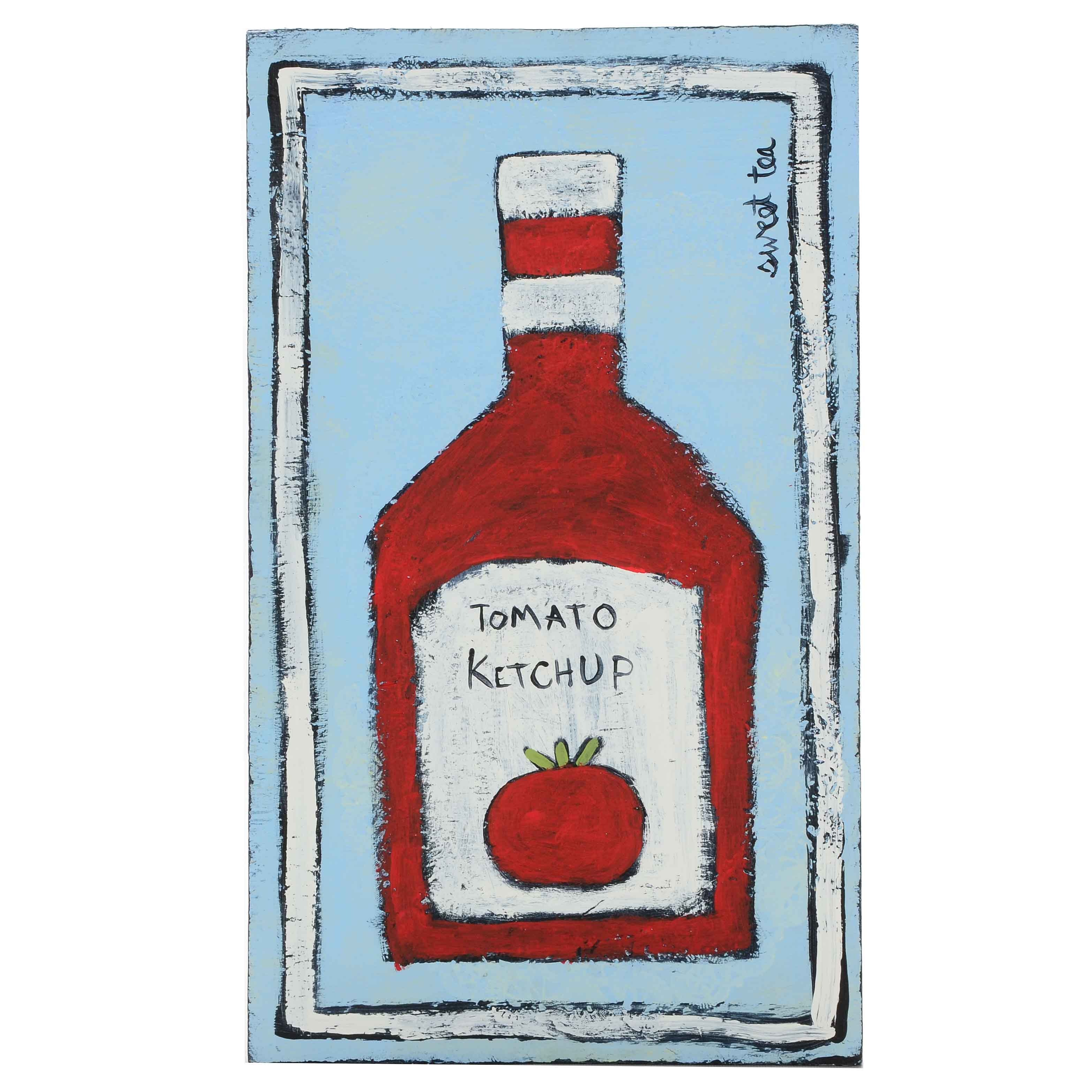 Sweet Tea Signed Original Mixed Media Painting of a Ketchup Bottle